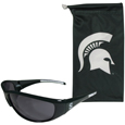 Michigan St. Spartans Sunglass and Bag Set - Get these popular Michigan St. Spartans sunglasses with a matching microfiber bag carrying case. The Michigan St. Spartans Sunglass and Bag Set sunglasses are durable and fashionable with the maximum UVA/UBVB protection. The Michigan St. Spartans Sunglass and Bag Set has a stylish bag that is made of microfiber so it can also be used as a cleaning cloth. Thank you for shopping with CrazedOutSports.com