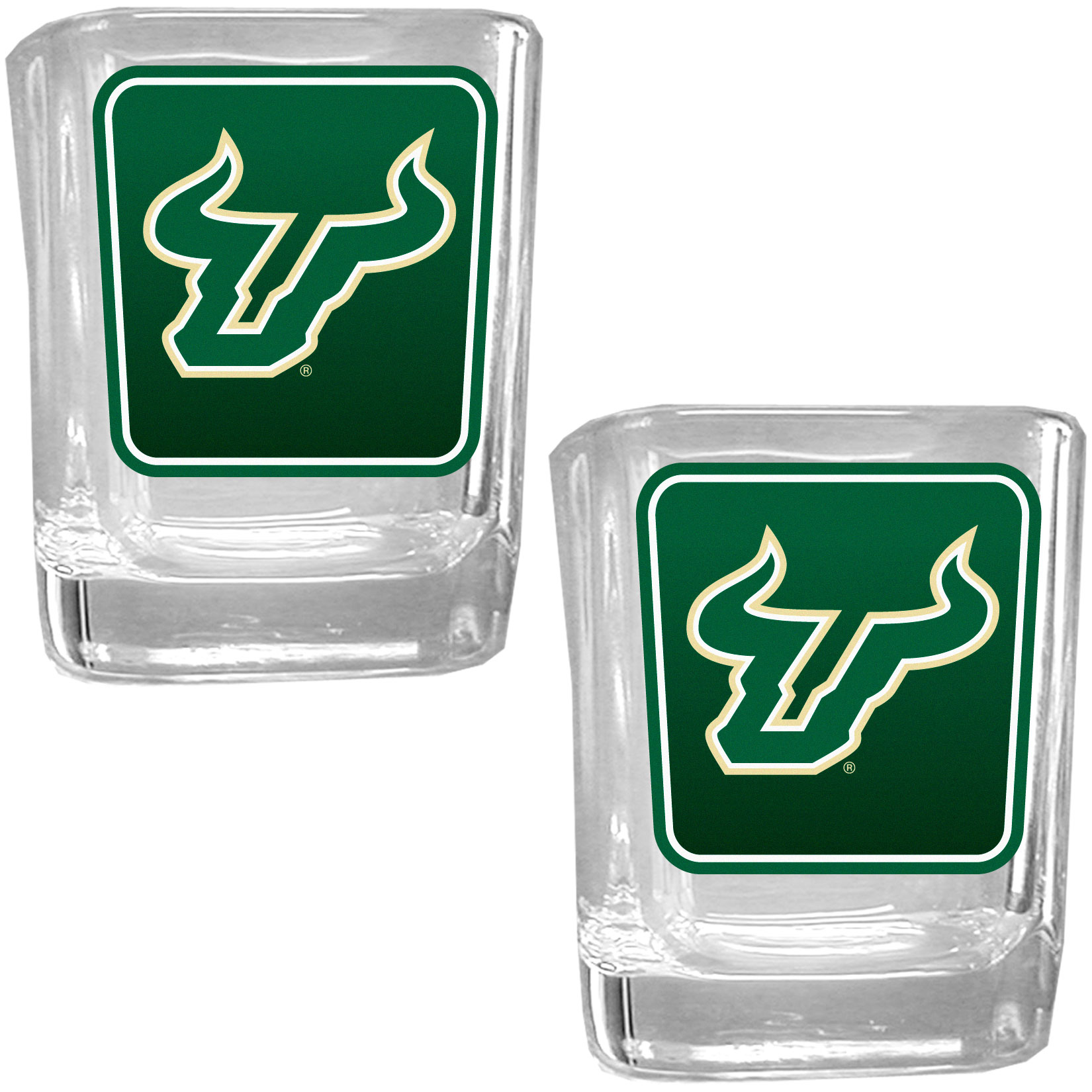 S. Florida Bulls Square Glass Shot Glass Set - Our glass shot glasses are perfect for collectors or any game day event. The 2 ounce glasses feature bright, vidid digital S. Florida Bulls graphics. Comes in a set of 2.