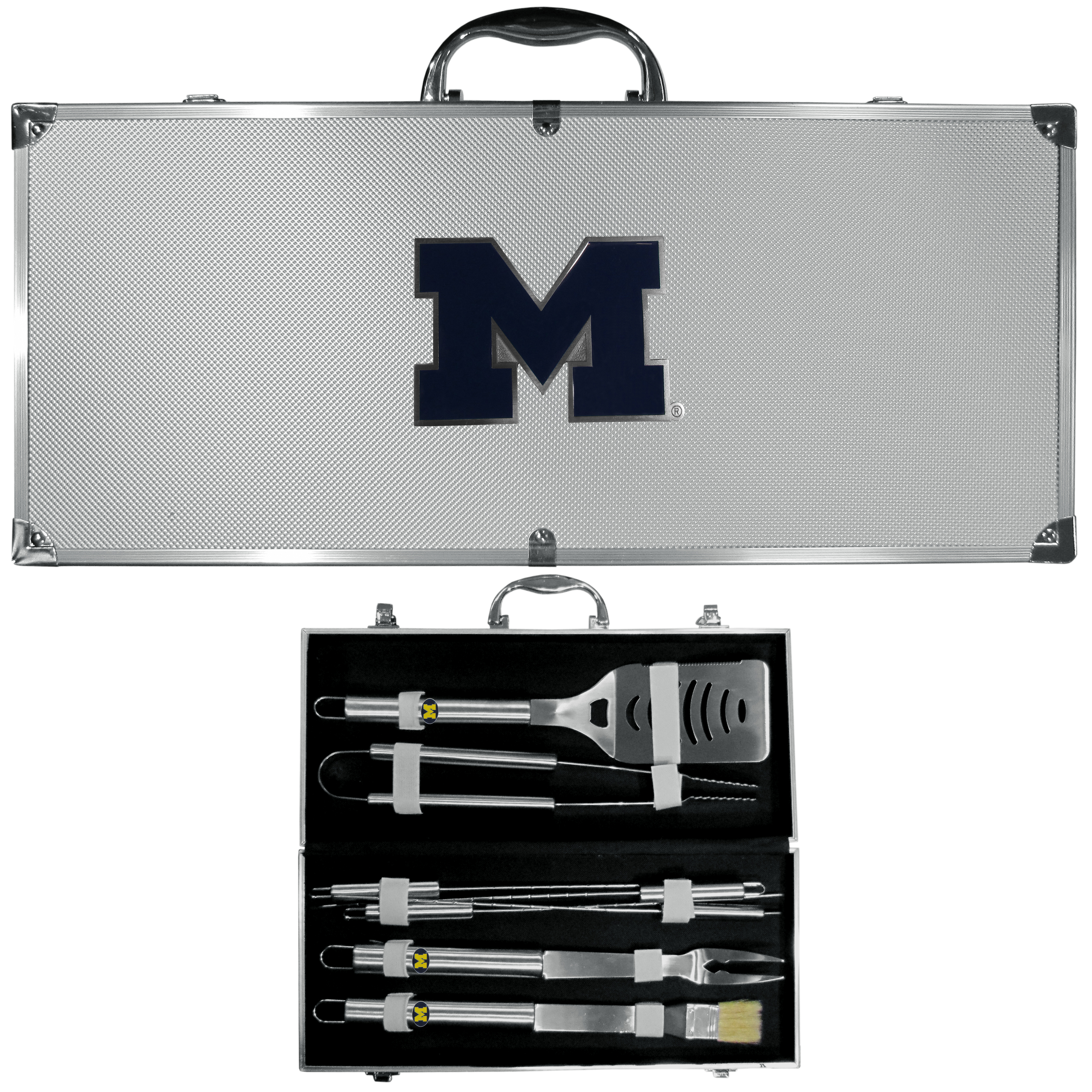 Michigan Wolverines 8 pc Stainless Steel BBQ Set w/Metal Case - Our 8 pc BBQ set includes a spatula with knife edge, grill fork, tongs, basting brush and 4 skewers. The tools are approximately 19 inch long and have sturdy stainless steel handles. The aluminum carrying case features a metal carved Michigan Wolverinesemblem with enameled finish.
