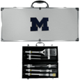 Michigan Wolverines 8 pc Stainless Steel BBQ Set w/Metal Case