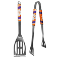 Clemson Tigers 2 pc Steel BBQ Tool Set - This stainless steel 2 pc BBQ set is a tailgater's best friend. The colorful and large team graphics let's everyone know you are a fan! The set in includes a spatula and tongs with the Clemson Tigers proudly display on each tool.