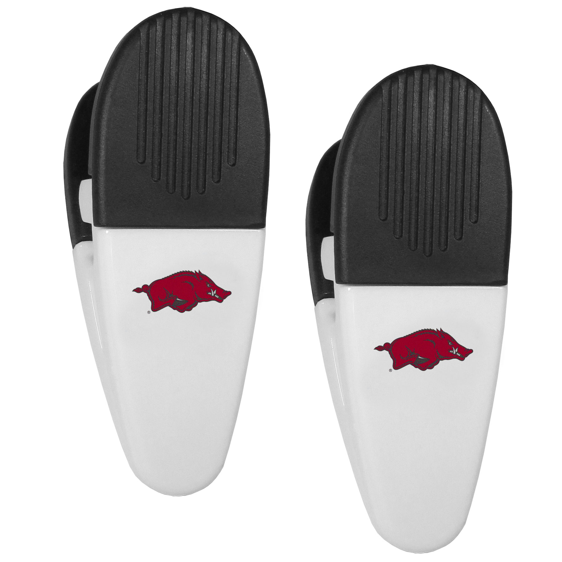 Arkansas Razorbacks Mini Chip Clip Magnets, 2 pk - Our Arkansas Razorbacks chip clip magnets feature a crisp team logo on the front of the clip. The clip is perfect for sealing chips for freshness and with the powerful magnet on the back it can be used to attach notes to the fridge or hanging your child's artwork. Set of 2 magnet clips, each clip is 3.5 inches tall and 1.25 inch wide.