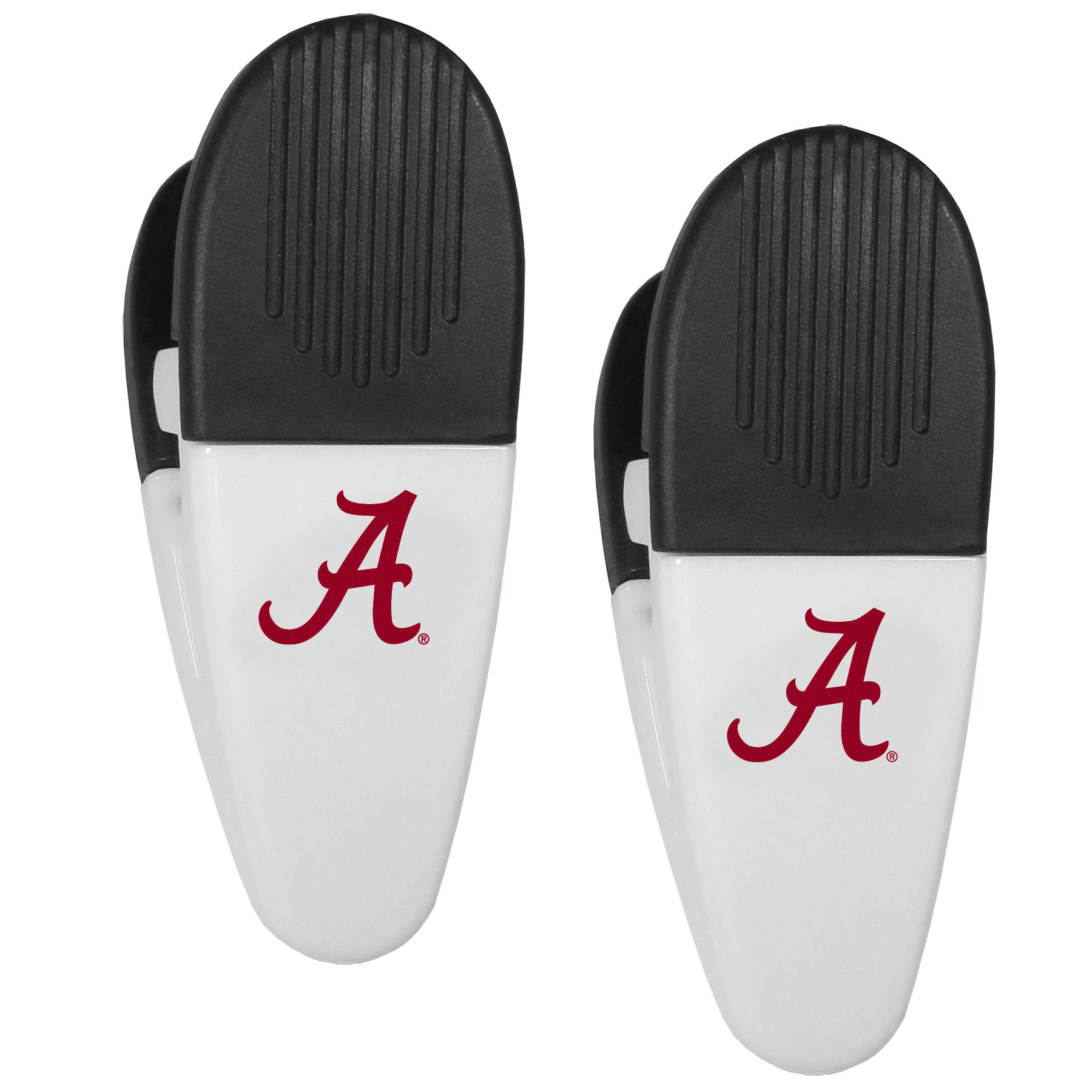Alabama Crimson Tide Mini Chip Clip Magnets, 2 pk - Our Alabama Crimson Tide chip clip magnets feature a crisp team logo on the front of the clip. The clip is perfect for sealing chips for freshness and with the powerful magnet on the back it can be used to attach notes to the fridge or hanging your child's artwork. Set of 2 magnet clips, each clip is 3.5 inches tall and 1.25 inch wide.