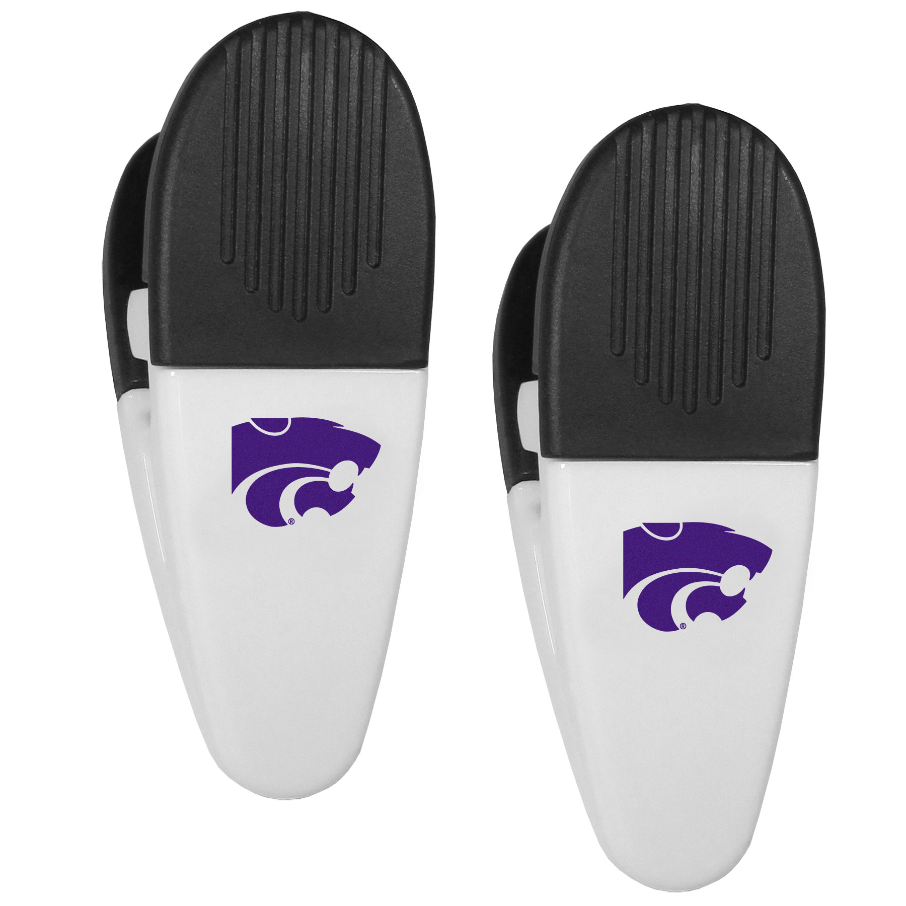 Kansas St. Wildcats Mini Chip Clip Magnets, 2 pk - Our Kansas St. Wildcats chip clip magnets feature a crisp team logo on the front of the clip. The clip is perfect for sealing chips for freshness and with the powerful magnet on the back it can be used to attach notes to the fridge or hanging your child's artwork. Set of 2 magnet clips, each clip is 3.5 inches tall and 1.25 inch wide.