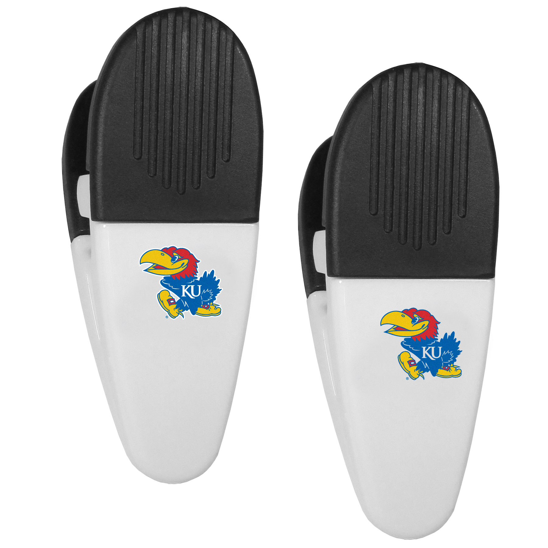 Kansas Jayhawks Mini Chip Clip Magnets, 2 pk - Our Kansas Jayhawks chip clip magnets feature a crisp team logo on the front of the clip. The clip is perfect for sealing chips for freshness and with the powerful magnet on the back it can be used to attach notes to the fridge or hanging your child's artwork. Set of 2 magnet clips, each clip is 3.5 inches tall and 1.25 inch wide.
