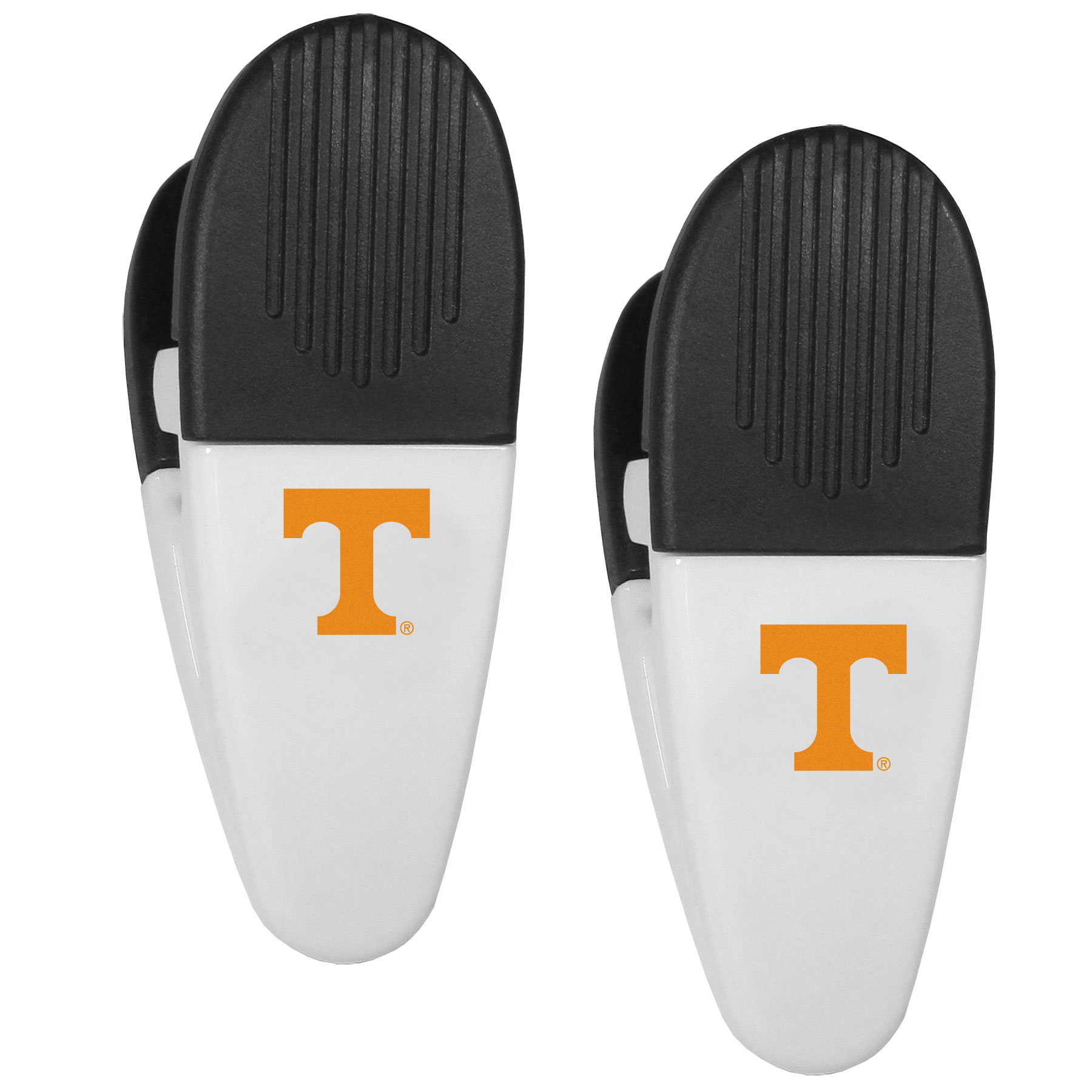 Tennessee Volunteers Mini Chip Clip Magnets, 2 pk - Our Tennessee Volunteers chip clip magnets feature a crisp team logo on the front of the clip. The clip is perfect for sealing chips for freshness and with the powerful magnet on the back it can be used to attach notes to the fridge or hanging your child's artwork. Set of 2 magnet clips, each clip is 3.5 inches tall and 1.25 inch wide.