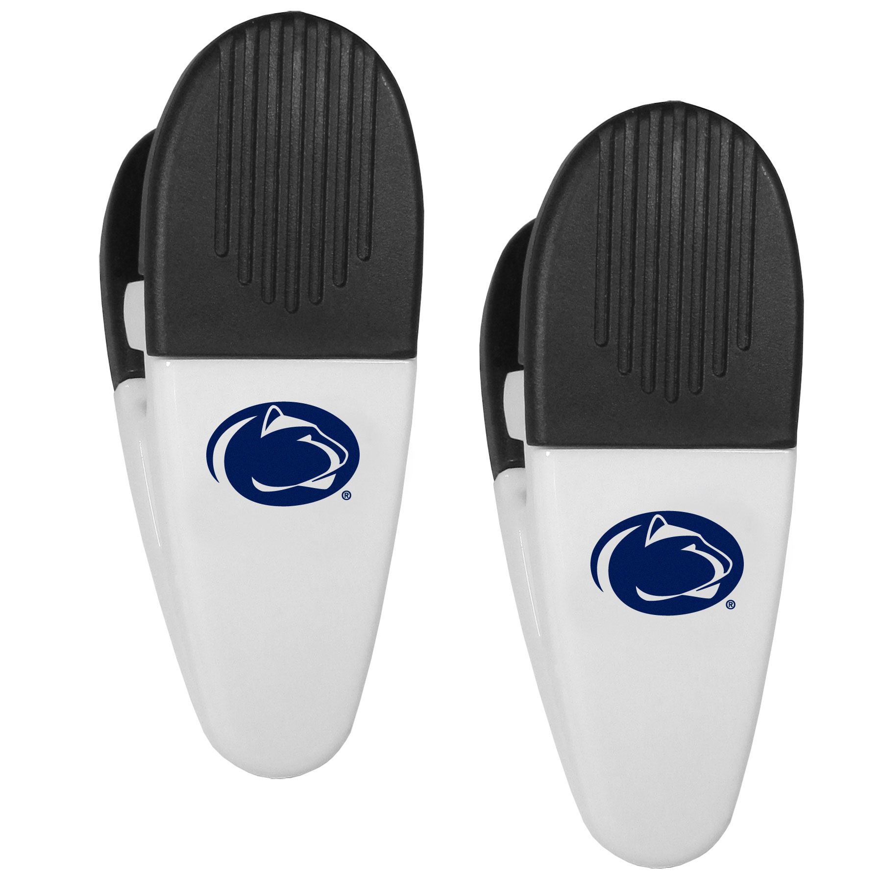 Penn St. Nittany Lions Mini Chip Clip Magnets, 2 pk - Our Penn St. Nittany Lions chip clip magnets feature a crisp team logo on the front of the clip. The clip is perfect for sealing chips for freshness and with the powerful magnet on the back it can be used to attach notes to the fridge or hanging your child's artwork. Set of 2 magnet clips, each clip is 3.5 inches tall and 1.25 inch wide.