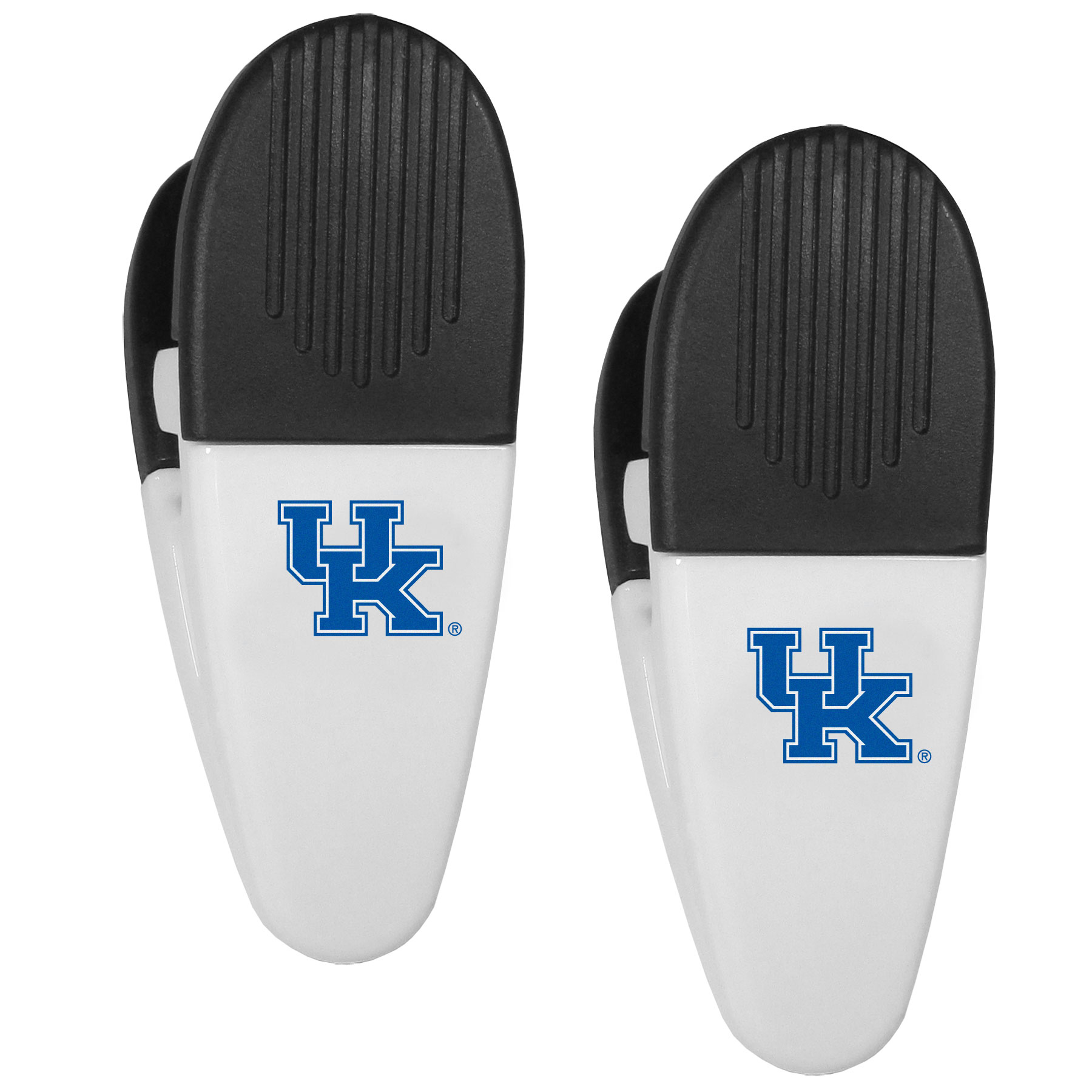 Kentucky Wildcats Mini Chip Clip Magnets, 2 pk - Our Kentucky Wildcats chip clip magnets feature a crisp team logo on the front of the clip. The clip is perfect for sealing chips for freshness and with the powerful magnet on the back it can be used to attach notes to the fridge or hanging your child's artwork. Set of 2 magnet clips, each clip is 3.5 inches tall and 1.25 inch wide.