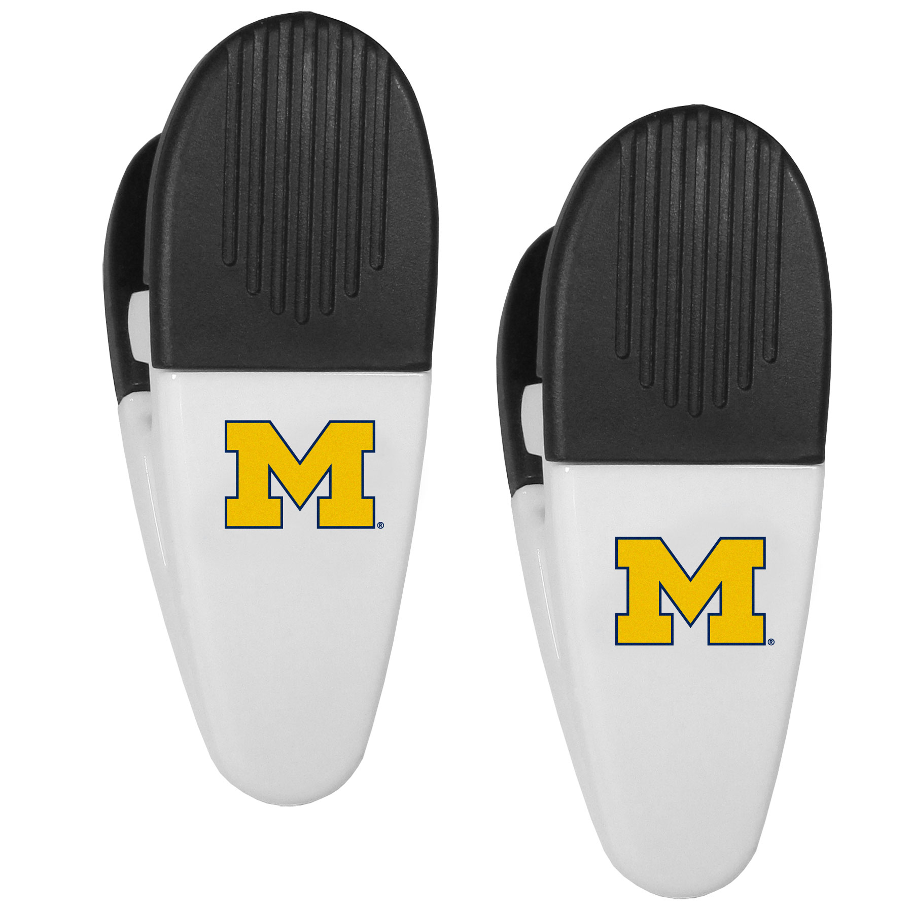 Michigan Wolverines Mini Chip Clip Magnets, 2 pk - Our Michigan Wolverines chip clip magnets feature a crisp team logo on the front of the clip. The clip is perfect for sealing chips for freshness and with the powerful magnet on the back it can be used to attach notes to the fridge or hanging your child's artwork. Set of 2 magnet clips, each clip is 3.5 inches tall and 1.25 inch wide.