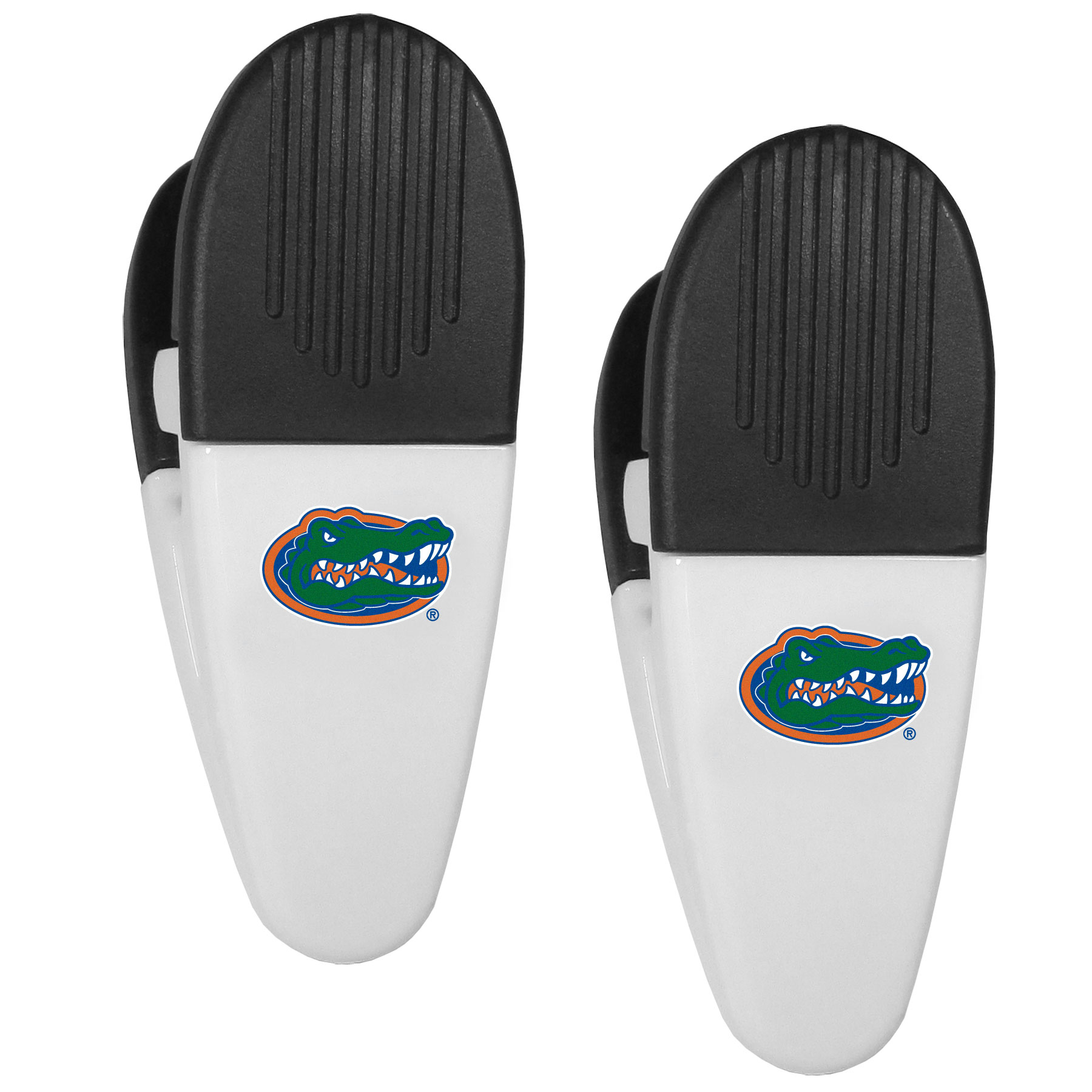 Florida Gators Mini Chip Clip Magnets, 2 pk - Our Florida Gators chip clip magnets feature a crisp team logo on the front of the clip. The clip is perfect for sealing chips for freshness and with the powerful magnet on the back it can be used to attach notes to the fridge or hanging your child's artwork. Set of 2 magnet clips, each clip is 3.5 inches tall and 1.25 inch wide.