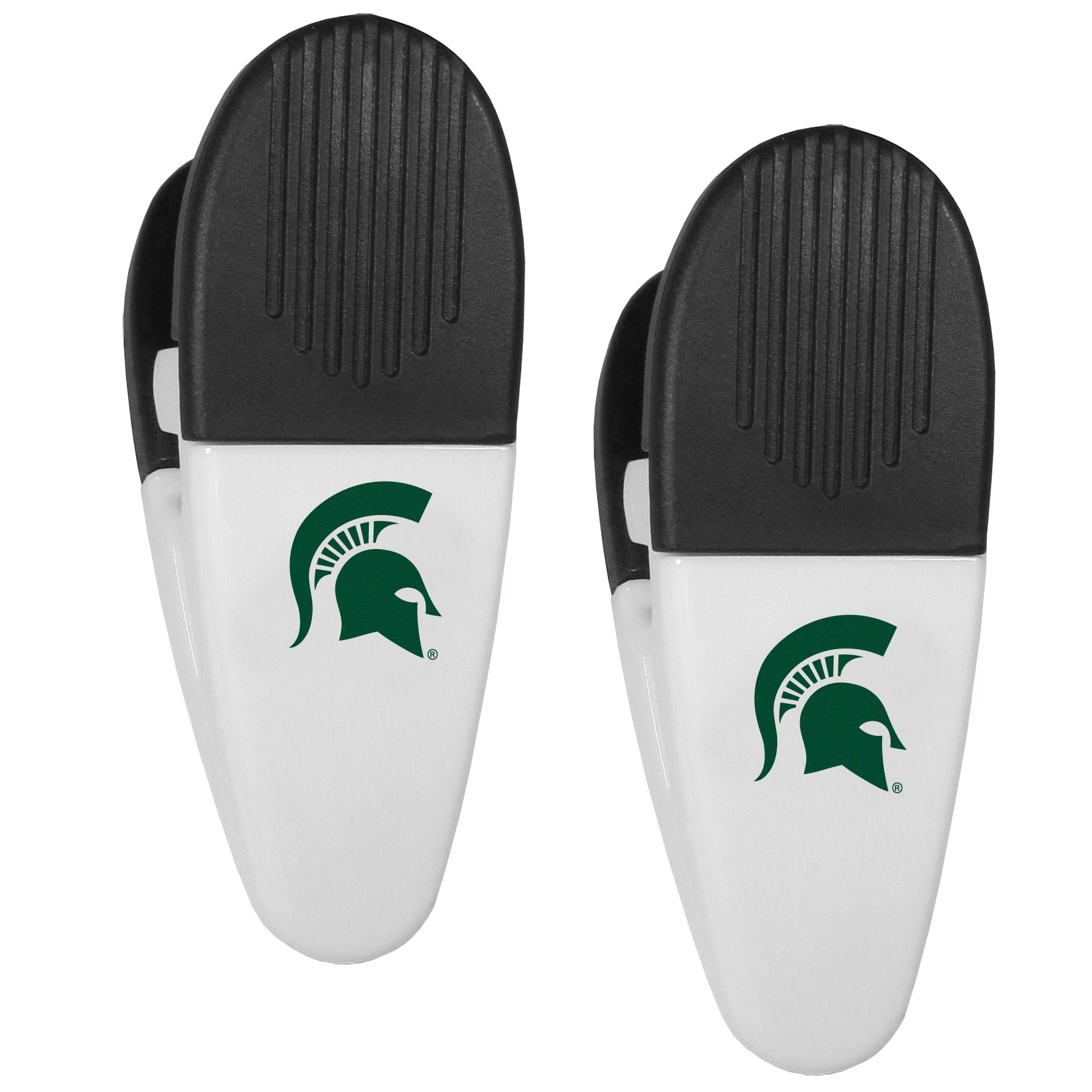 Michigan St. Spartans Mini Chip Clip Magnets, 2 pk - Our Michigan St. Spartans chip clip magnets feature a crisp team logo on the front of the clip. The clip is perfect for sealing chips for freshness and with the powerful magnet on the back it can be used to attach notes to the fridge or hanging your child's artwork. Set of 2 magnet clips, each clip is 3.5 inches tall and 1.25 inch wide.