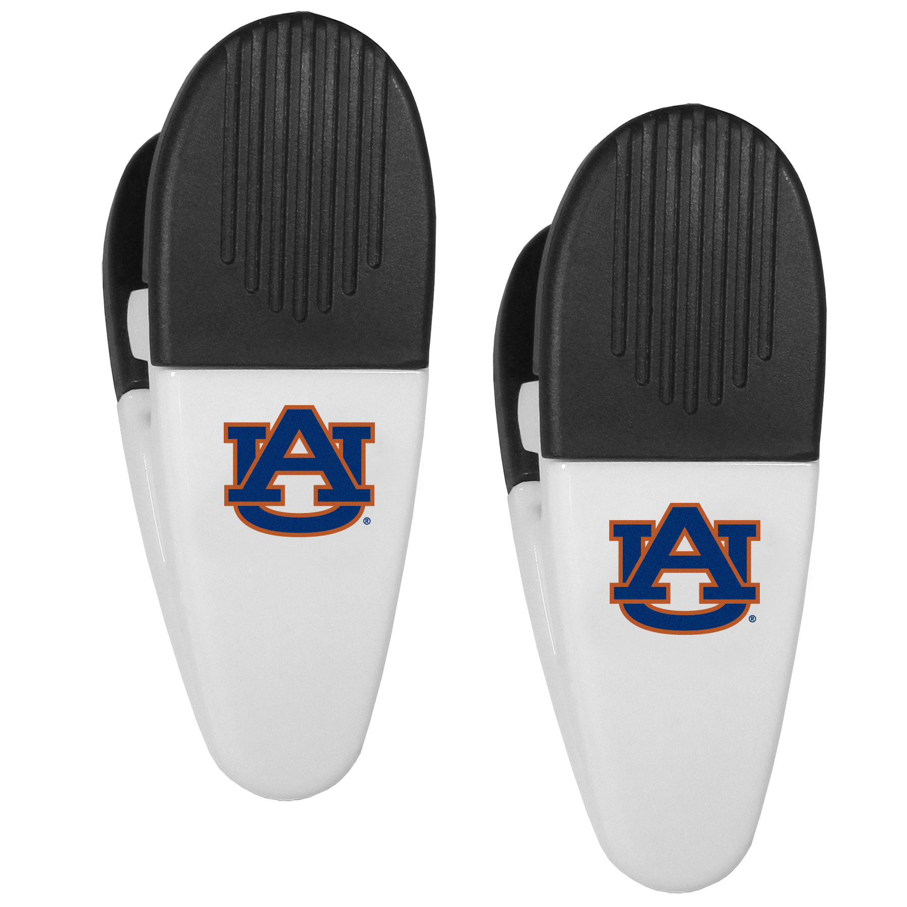 Auburn Tigers Mini Chip Clip Magnets, 2 pk - Our Auburn Tigers chip clip magnets feature a crisp team logo on the front of the clip. The clip is perfect for sealing chips for freshness and with the powerful magnet on the back it can be used to attach notes to the fridge or hanging your child's artwork. Set of 2 magnet clips, each clip is 3.5 inches tall and 1.25 inch wide.