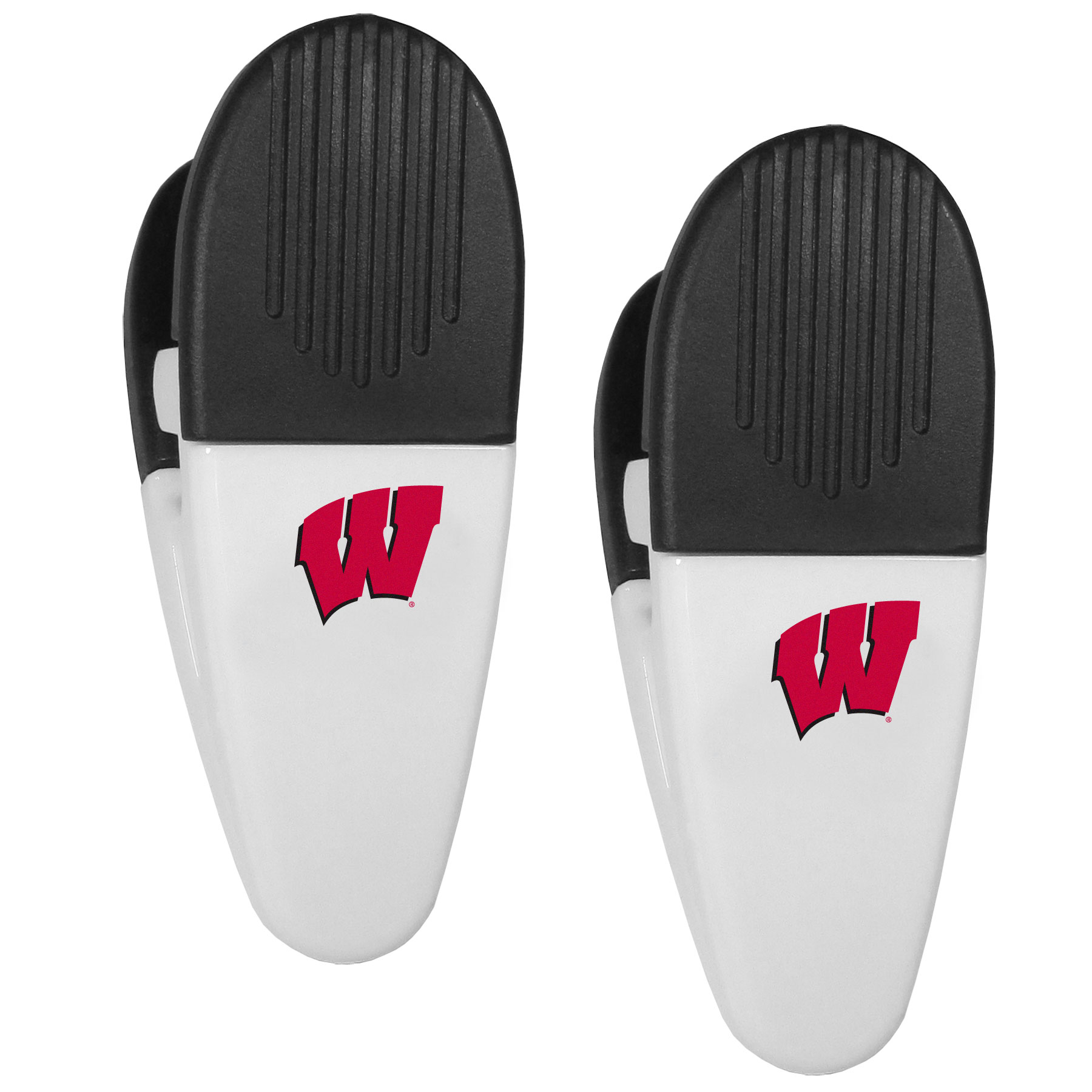 Wisconsin Badgers Mini Chip Clip Magnets, 2 pk - Our Wisconsin Badgers chip clip magnets feature a crisp team logo on the front of the clip. The clip is perfect for sealing chips for freshness and with the powerful magnet on the back it can be used to attach notes to the fridge or hanging your child's artwork. Set of 2 magnet clips, each clip is 3.5 inches tall and 1.25 inch wide.