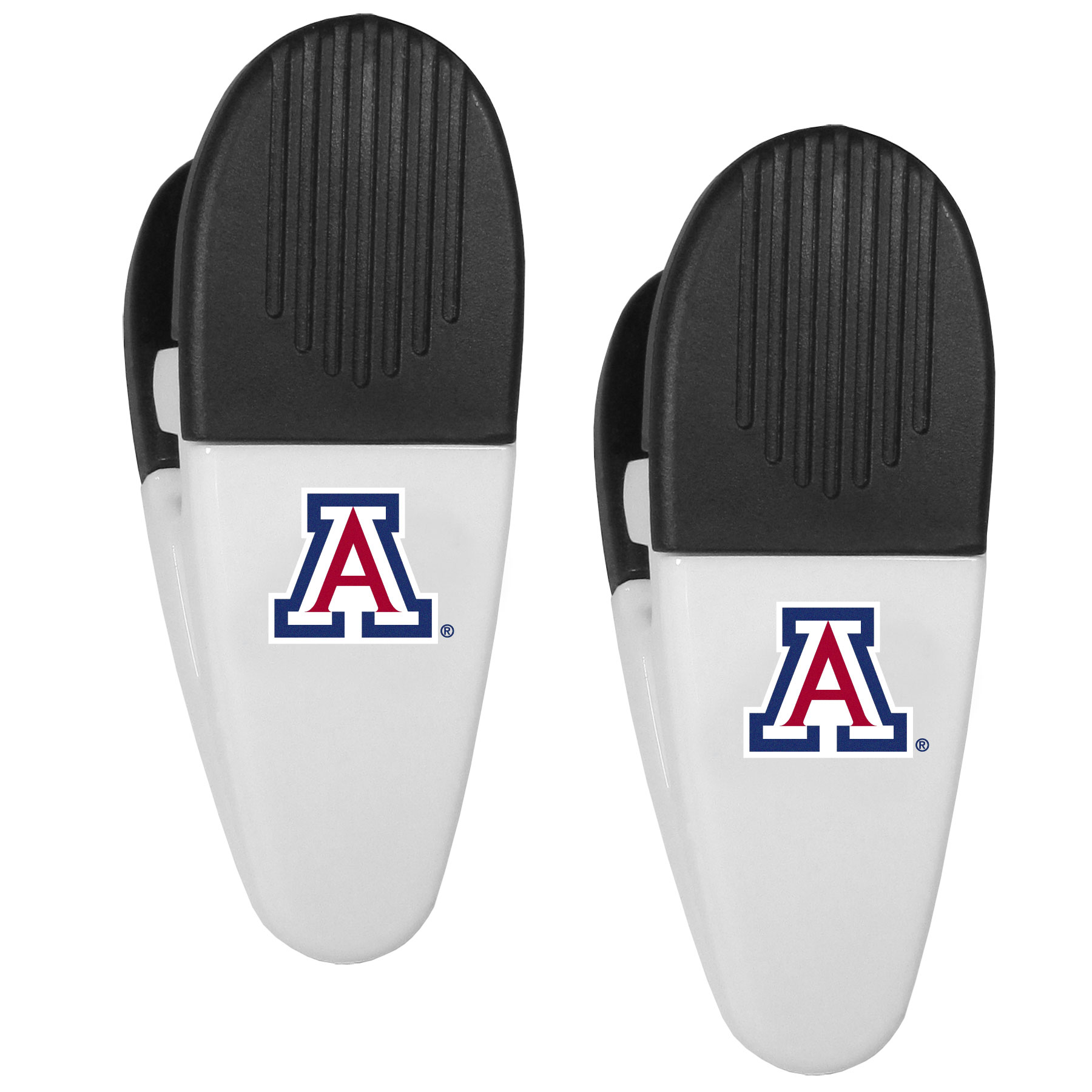 Arizona Wildcats Mini Chip Clip Magnets, 2 pk - Our Arizona Wildcats chip clip magnets feature a crisp team logo on the front of the clip. The clip is perfect for sealing chips for freshness and with the powerful magnet on the back it can be used to attach notes to the fridge or hanging your child's artwork. Set of 2 magnet clips, each clip is 3.5 inches tall and 1.25 inch wide.