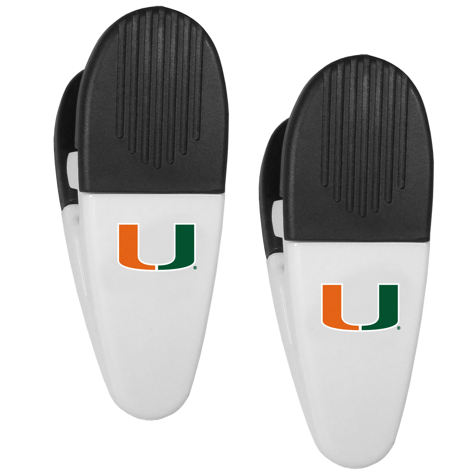 Miami Hurricanes Mini Chip Clip Magnets, 2 pk - Our Miami Hurricanes chip clip magnets feature a crisp team logo on the front of the clip. The clip is perfect for sealing chips for freshness and with the powerful magnet on the back it can be used to attach notes to the fridge or hanging your child's artwork. Set of 2 magnet clips, each clip is 3.5 inches tall and 1.25 inch wide.