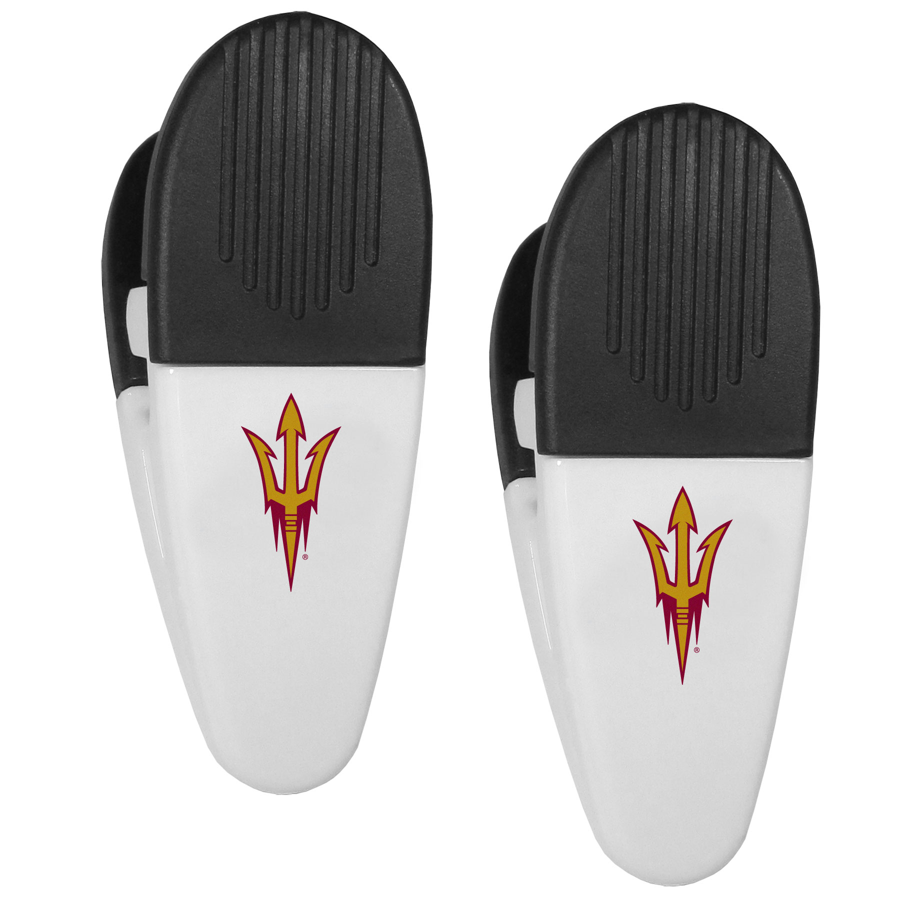 Arizona St. Sun Devils Mini Chip Clip Magnets, 2 pk - Our Arizona St. Sun Devils chip clip magnets feature a crisp team logo on the front of the clip. The clip is perfect for sealing chips for freshness and with the powerful magnet on the back it can be used to attach notes to the fridge or hanging your child's artwork. Set of 2 magnet clips, each clip is 3.5 inches tall and 1.25 inch wide.
