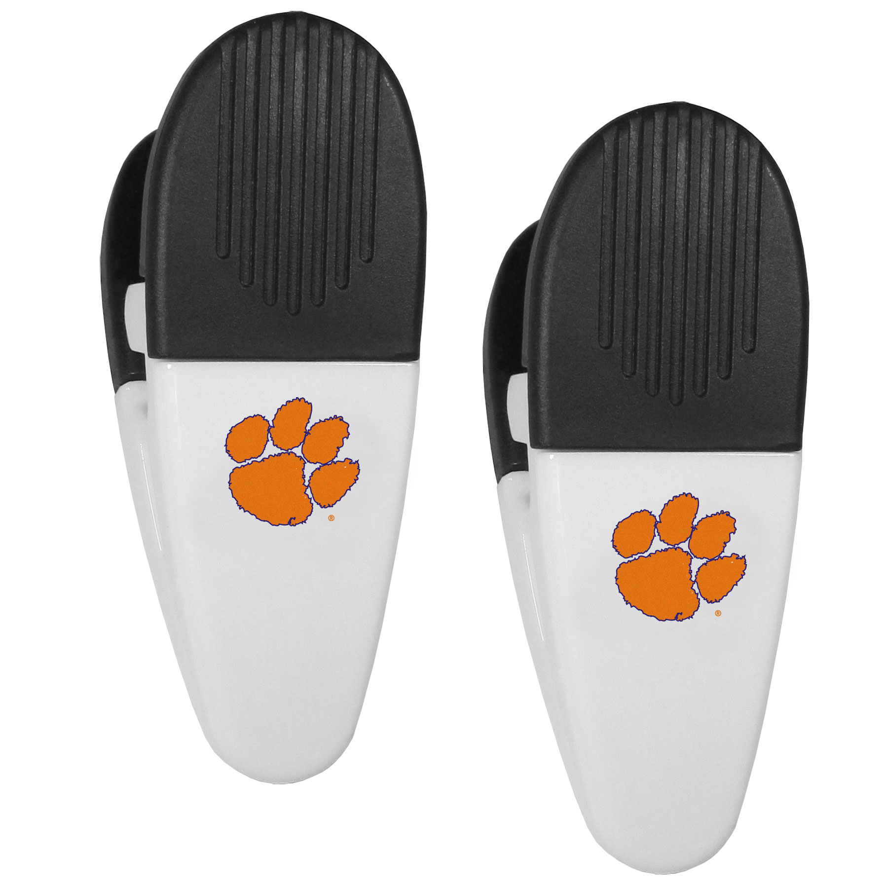 Clemson Tigers Mini Chip Clip Magnets, 2 pk - Our Clemson Tigers chip clip magnets feature a crisp team logo on the front of the clip. The clip is perfect for sealing chips for freshness and with the powerful magnet on the back it can be used to attach notes to the fridge or hanging your child's artwork. Set of 2 magnet clips, each clip is 3.5 inches tall and 1.25 inch wide.