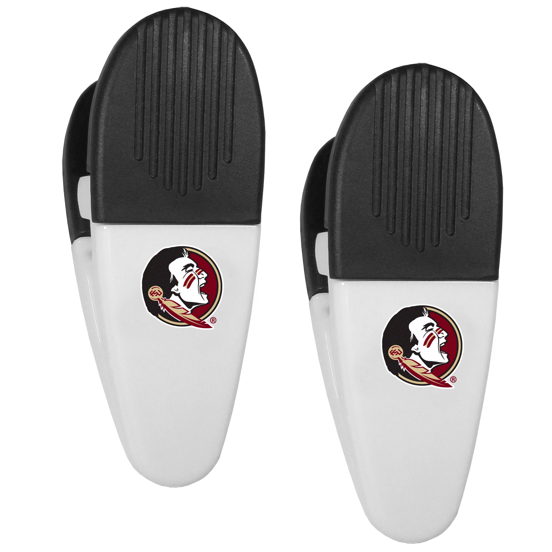 Florida St. Seminoles Mini Chip Clip Magnets, 2 pk - Our Florida St. Seminoles chip clip magnets feature a crisp team logo on the front of the clip. The clip is perfect for sealing chips for freshness and with the powerful magnet on the back it can be used to attach notes to the fridge or hanging your child's artwork. Set of 2 magnet clips, each clip is 3.5 inches tall and 1.25 inch wide.