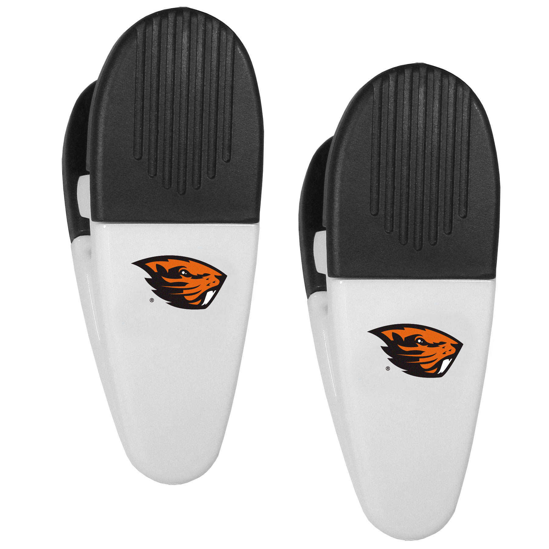 Oregon St. Beavers Mini Chip Clip Magnets, 2 pk - Our Oregon St. Beavers chip clip magnets feature a crisp team logo on the front of the clip. The clip is perfect for sealing chips for freshness and with the powerful magnet on the back it can be used to attach notes to the fridge or hanging your child's artwork. Set of 2 magnet clips, each clip is 3.5 inches tall and 1.25 inch wide.