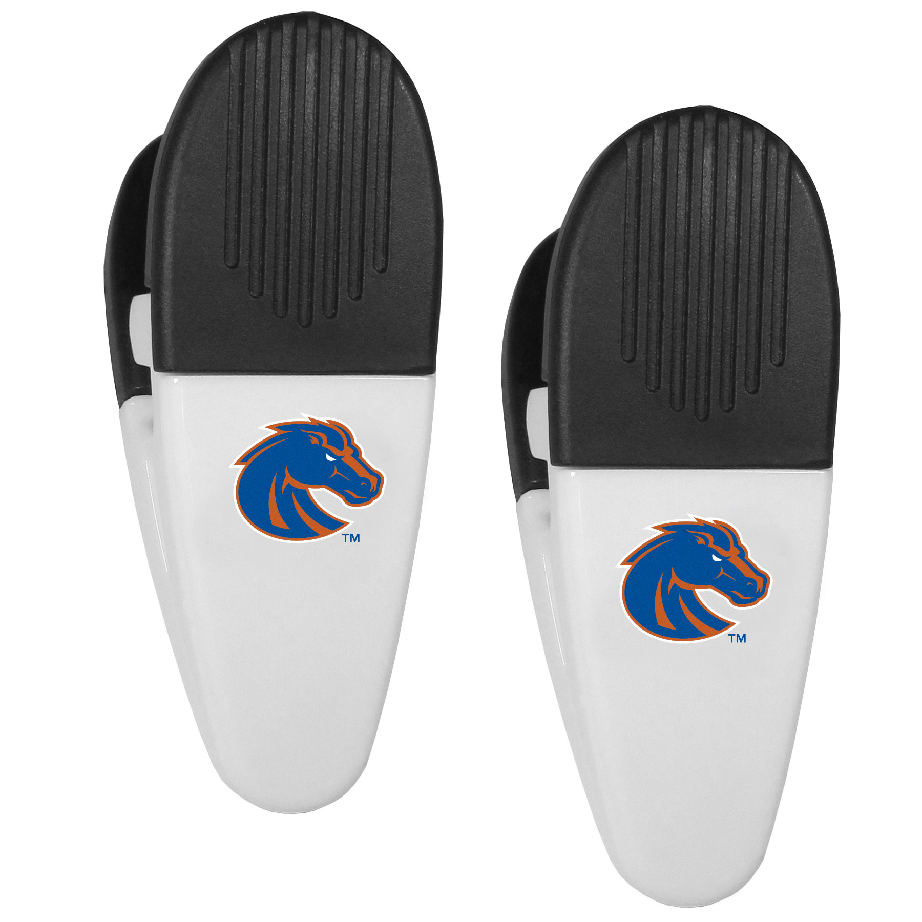 Boise St. Broncos Mini Chip Clip Magnets, 2 pk - Our Boise St. Broncos chip clip magnets feature a crisp team logo on the front of the clip. The clip is perfect for sealing chips for freshness and with the powerful magnet on the back it can be used to attach notes to the fridge or hanging your child's artwork. Set of 2 magnet clips, each clip is 3.5 inches tall and 1.25 inch wide.