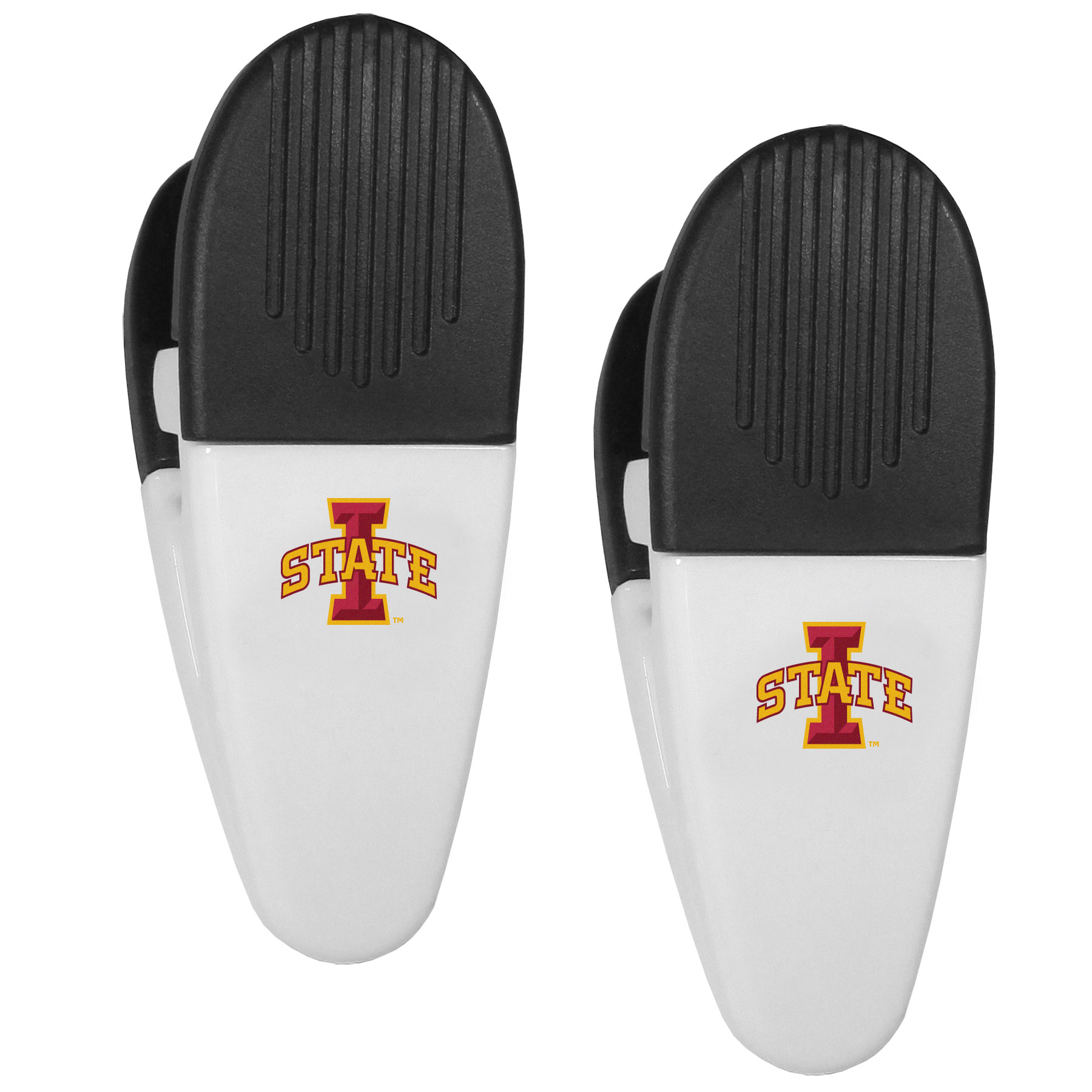 Iowa St. Cyclones Mini Chip Clip Magnets, 2 pk - Our Iowa St. Cyclones chip clip magnets feature a crisp team logo on the front of the clip. The clip is perfect for sealing chips for freshness and with the powerful magnet on the back it can be used to attach notes to the fridge or hanging your child's artwork. Set of 2 magnet clips, each clip is 3.5 inches tall and 1.25 inch wide.