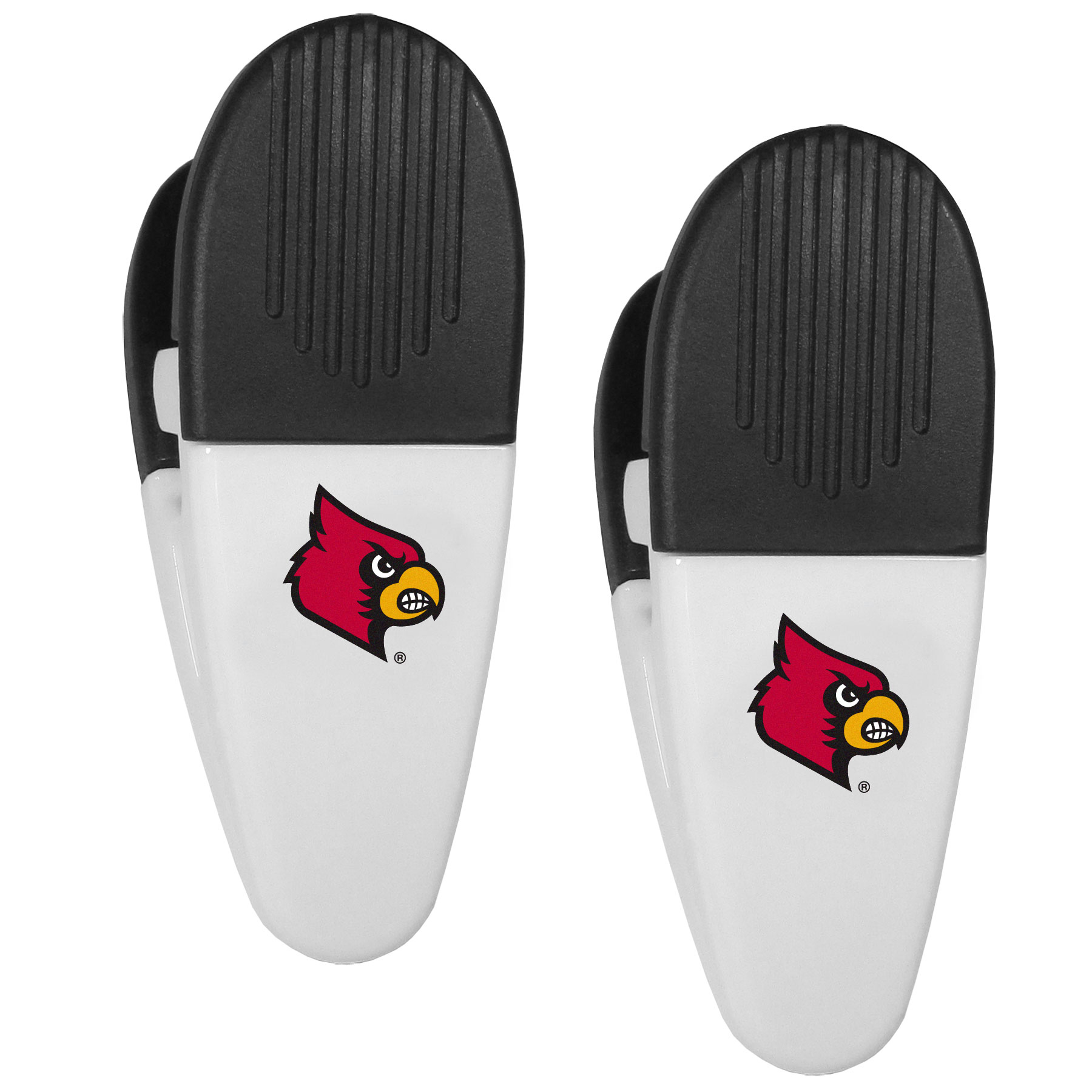 Louisville Cardinals Mini Chip Clip Magnets, 2 pk - Our Louisville Cardinals chip clip magnets feature a crisp team logo on the front of the clip. The clip is perfect for sealing chips for freshness and with the powerful magnet on the back it can be used to attach notes to the fridge or hanging your child's artwork. Set of 2 magnet clips, each clip is 3.5 inches tall and 1.25 inch wide.