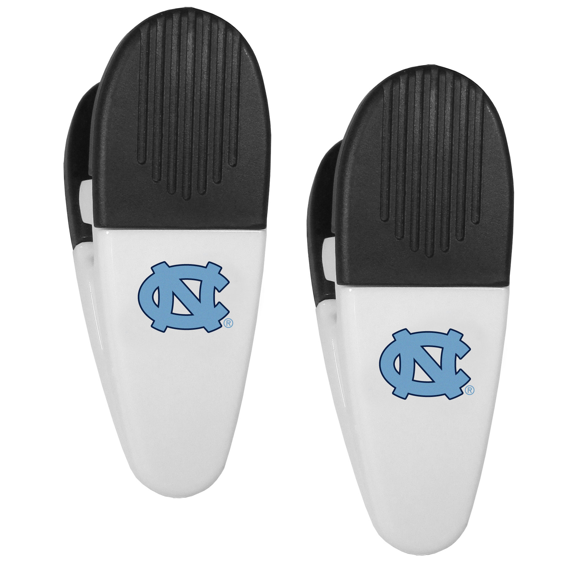 N. Carolina Tar Heels Mini Chip Clip Magnets, 2 pk - Our N. Carolina Tar Heels chip clip magnets feature a crisp team logo on the front of the clip. The clip is perfect for sealing chips for freshness and with the powerful magnet on the back it can be used to attach notes to the fridge or hanging your child's artwork. Set of 2 magnet clips, each clip is 3.5 inches tall and 1.25 inch wide.