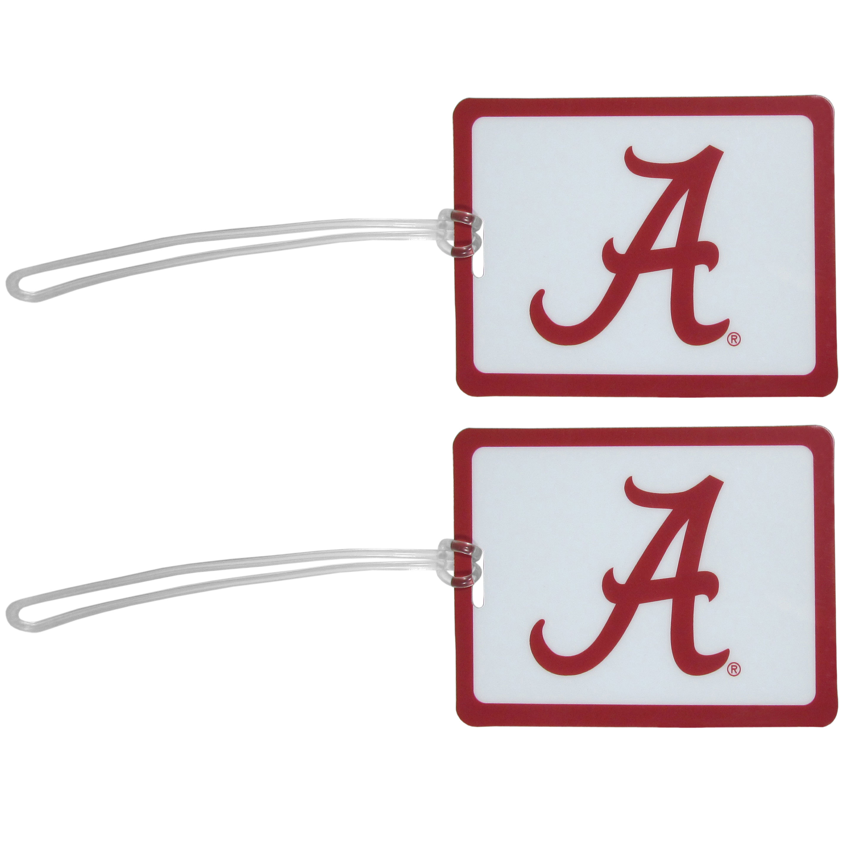 Alabama Crimson Tide Vinyl Luggage Tag, 2pk - Tired of trying to spot your suitcase or bag in a sea of luggage? Try our large and colorful Alabama Crimson Tide luggage tags. The tag is 4x3 inches and has a 5 inch cord to attach it easily to your bags, backpacks or luggage. The front of the tag features the team logo in a bright, team colored background and you can write you name, address and phone number on the back of the tag.