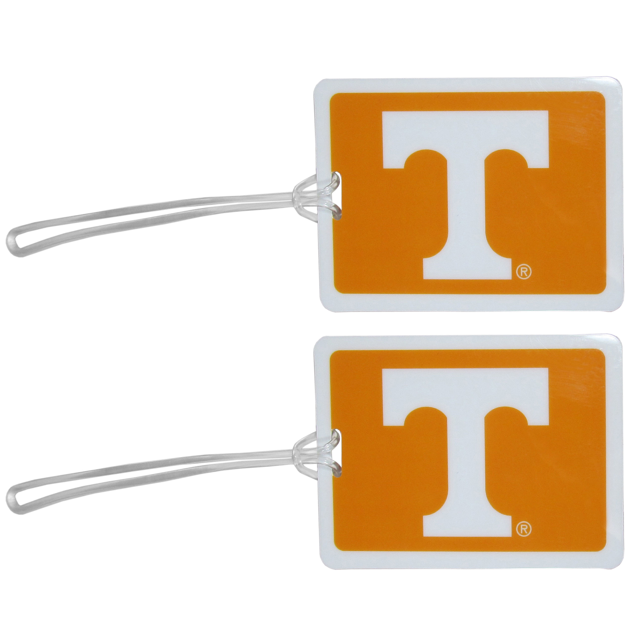 Tennessee Volunteers Vinyl Luggage Tag, 2pk - Tired of trying to spot your suitcase or bag in a sea of luggage? Try our large and colorful Tennessee Volunteers luggage tags. The tag is 4x3 inches and has a 5 inch cord to attach it easily to your bags, backpacks or luggage. The front of the tag features the team logo in a bright, team colored background and you can write you name, address and phone number on the back of the tag.