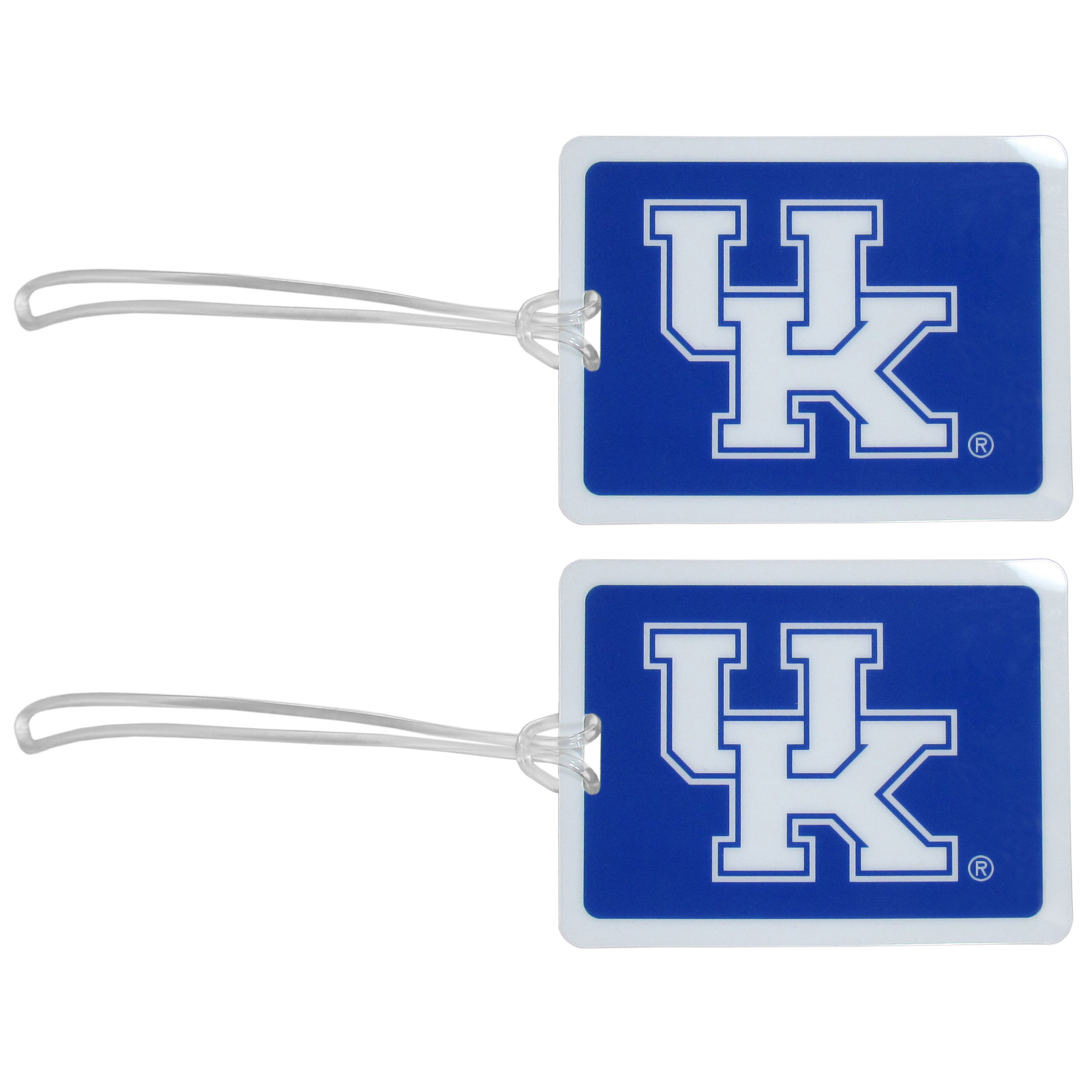 Kentucky Wildcats Vinyl Luggage Tag, 2pk - Tired of trying to spot your suitcase or bag in a sea of luggage? Try our large and colorful Kentucky Wildcats luggage tags. The tag is 4x3 inches and has a 5 inch cord to attach it easily to your bags, backpacks or luggage. The front of the tag features the team logo in a bright, team colored background and you can write you name, address and phone number on the back of the tag.