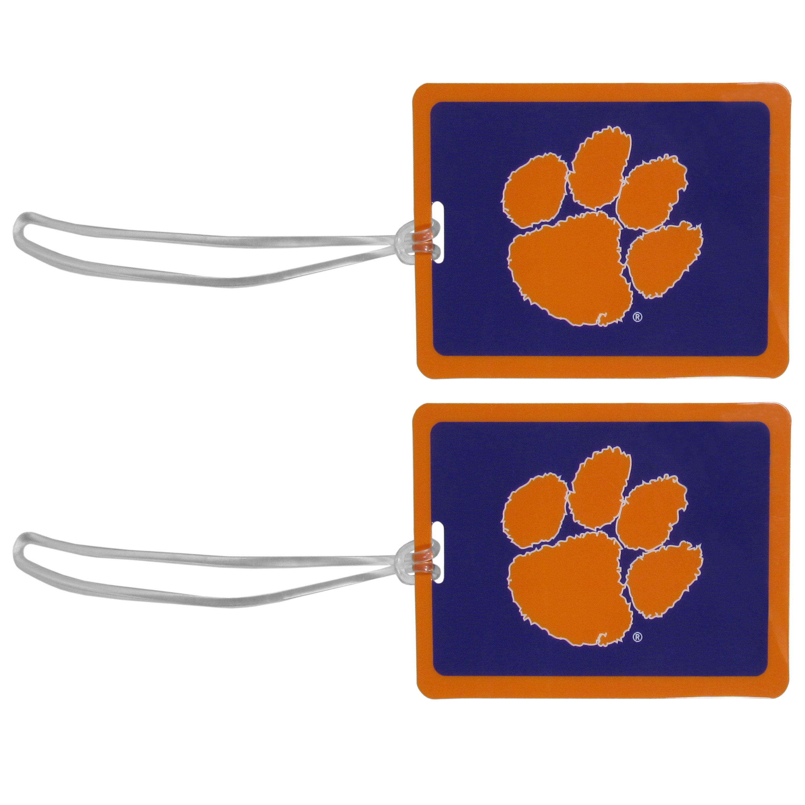 Clemson Tigers Vinyl Luggage Tag, 2pk - Tired of trying to spot your suitcase or bag in a sea of luggage? Try our large and colorful Clemson Tigers luggage tags. The tag is 4x3 inches and has a 5 inch cord to attach it easily to your bags, backpacks or luggage. The front of the tag features the team logo in a bright, team colored background and you can write you name, address and phone number on the back of the tag.