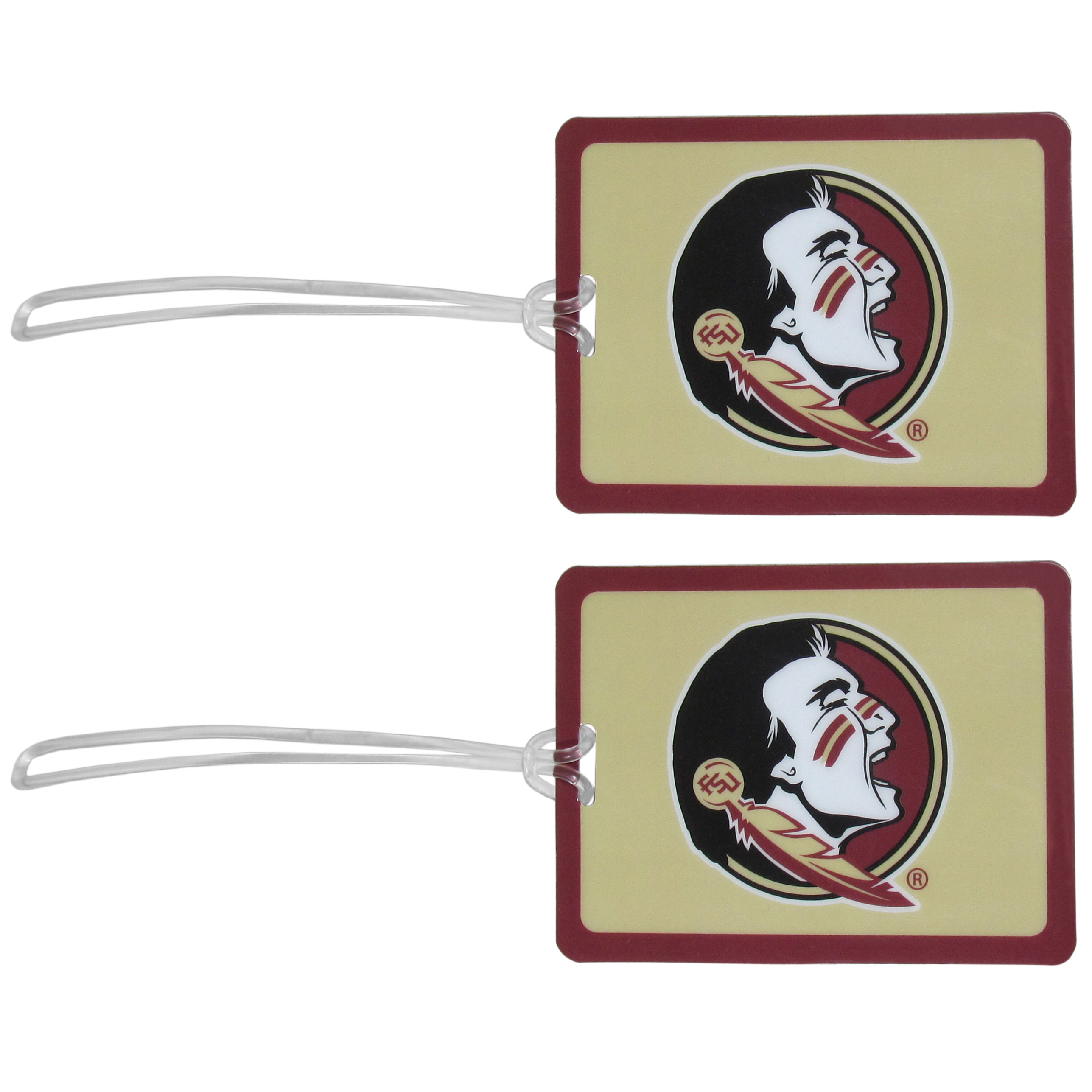 Florida St. Seminoles Vinyl Luggage Tag, 2pk - Tired of trying to spot your suitcase or bag in a sea of luggage? Try our large and colorful Florida St. Seminoles luggage tags. The tag is 4x3 inches and has a 5 inch cord to attach it easily to your bags, backpacks or luggage. The front of the tag features the team logo in a bright, team colored background and you can write you name, address and phone number on the back of the tag.