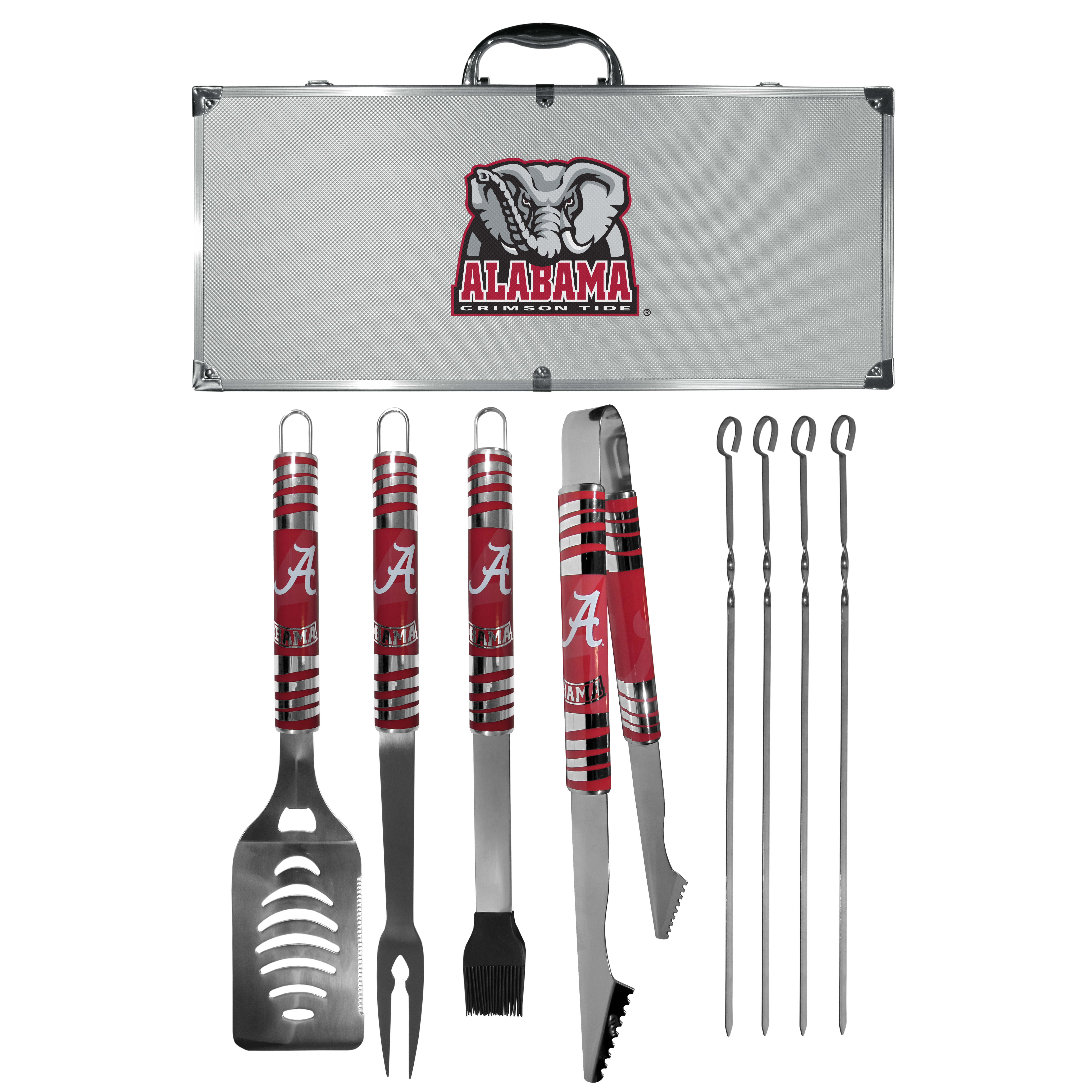 Alabama Crimson Tide 8 pc Tailgater BBQ Set - This is the ultimate Alabama Crimson Tide tailgate accessory! The high quality, 420 grade stainless steel tools are durable and well-made enough to make even the pickiest grill master smile. This complete grill accessory kit includes; 4 skewers, spatula with bottle opener and serrated knife edge, basting brush, tongs and a fork. The 18 inch metal carrying case is perfect for great outdoor use making grilling an ease while camping, tailgating or while having a game day party on your patio. The tools are 17 inches long and feature vivid team graphics. The metal case features a large team emblem with exceptional detail. This high-end men's gift is sure to be a hit as a present on Father's Day or Christmas.