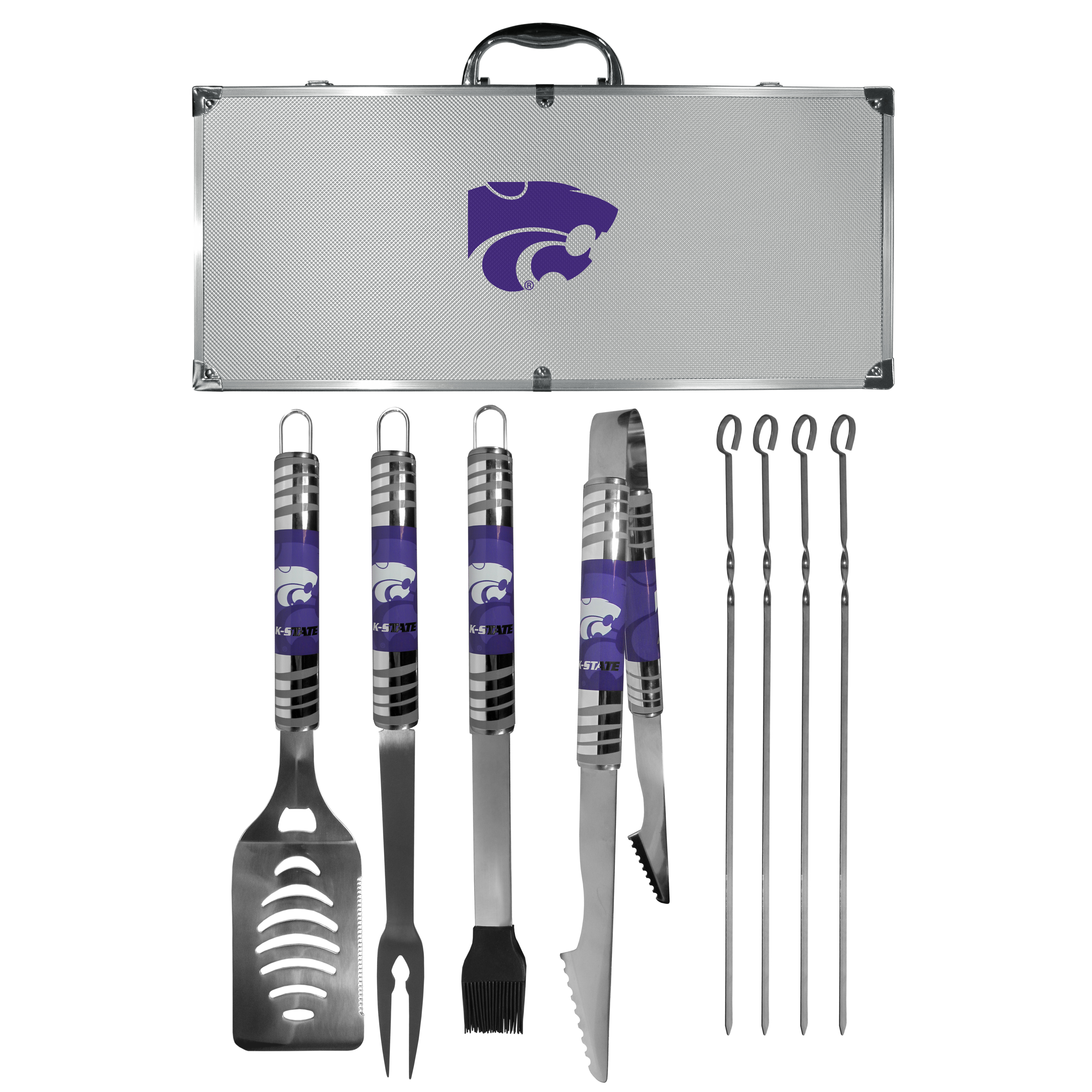 Kansas St. Wildcats 8 pc Tailgater BBQ Set - This is the ultimate Kansas St. Wildcats tailgate accessory! The high quality, 420 grade stainless steel tools are durable and well-made enough to make even the pickiest grill master smile. This complete grill accessory kit includes; 4 skewers, spatula with bottle opener and serrated knife edge, basting brush, tongs and a fork. The 18 inch metal carrying case is perfect for great outdoor use making grilling an ease while camping, tailgating or while having a game day party on your patio. The tools are 17 inches long and feature vivid team graphics. The metal case features a large team emblem with exceptional detail. This high-end men's gift is sure to be a hit as a present on Father's Day or Christmas.