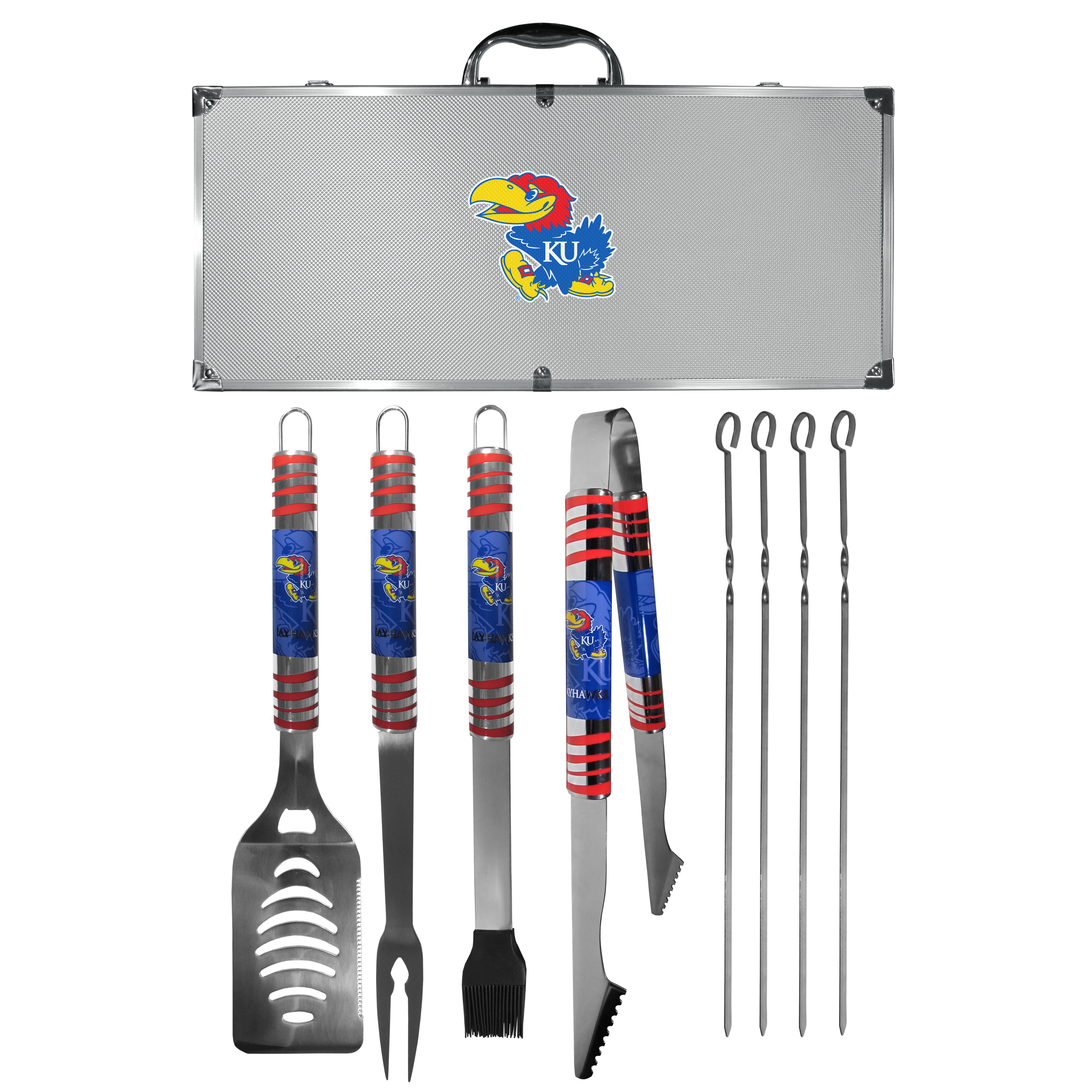 Kansas Jayhawks 8 pc Tailgater BBQ Set - This is the ultimate Kansas Jayhawks tailgate accessory! The high quality, 420 grade stainless steel tools are durable and well-made enough to make even the pickiest grill master smile. This complete grill accessory kit includes; 4 skewers, spatula with bottle opener and serrated knife edge, basting brush, tongs and a fork. The 18 inch metal carrying case is perfect for great outdoor use making grilling an ease while camping, tailgating or while having a game day party on your patio. The tools are 17 inches long and feature vivid team graphics. The metal case features a large team emblem with exceptional detail. This high-end men's gift is sure to be a hit as a present on Father's Day or Christmas.