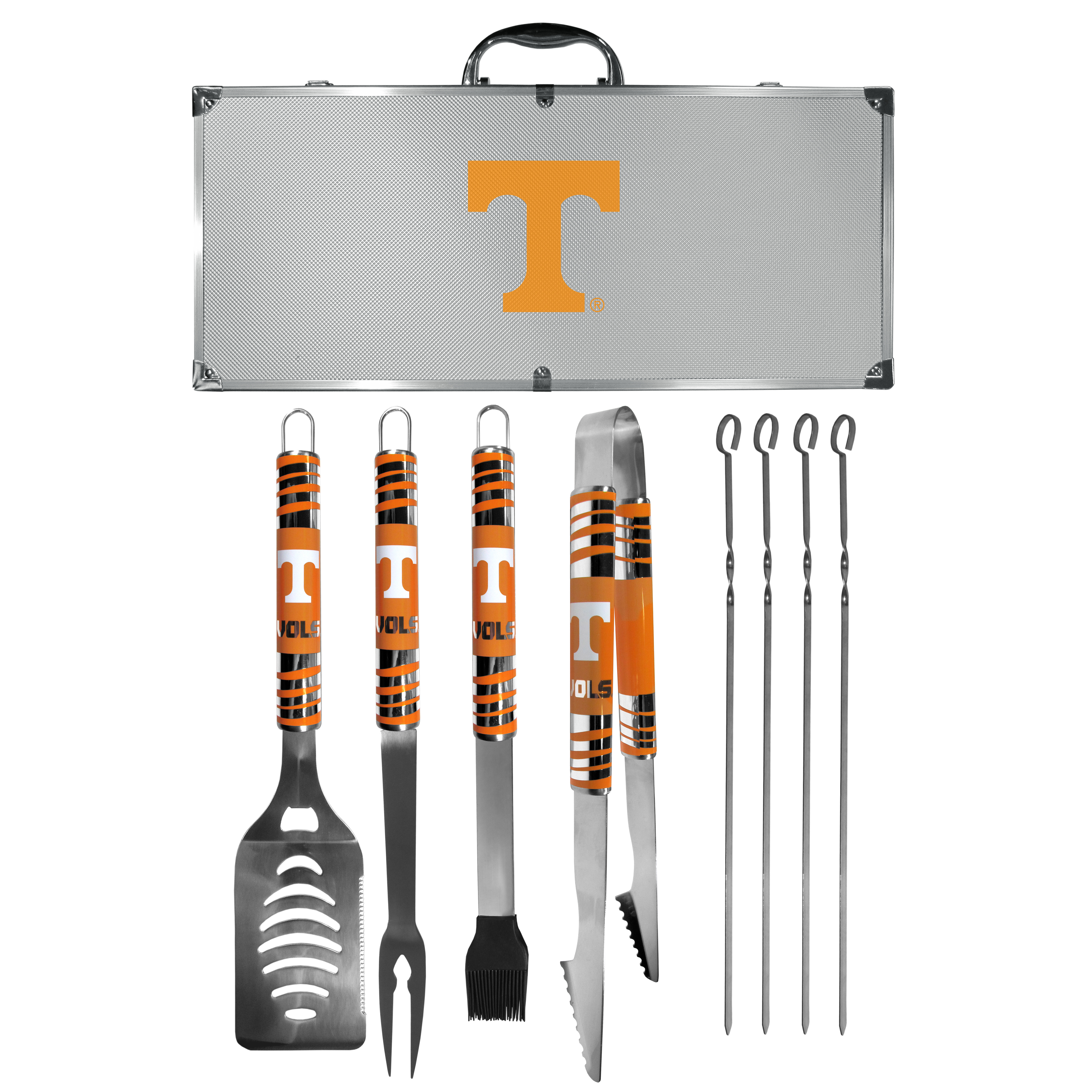 Tennessee Volunteers 8 pc Tailgater BBQ Set - This is the ultimate Tennessee Volunteers tailgate accessory! The high quality, 420 grade stainless steel tools are durable and well-made enough to make even the pickiest grill master smile. This complete grill accessory kit includes; 4 skewers, spatula with bottle opener and serrated knife edge, basting brush, tongs and a fork. The 18 inch metal carrying case is perfect for great outdoor use making grilling an ease while camping, tailgating or while having a game day party on your patio. The tools are 17 inches long and feature vivid team graphics. The metal case features a large team emblem with exceptional detail. This high-end men's gift is sure to be a hit as a present on Father's Day or Christmas.