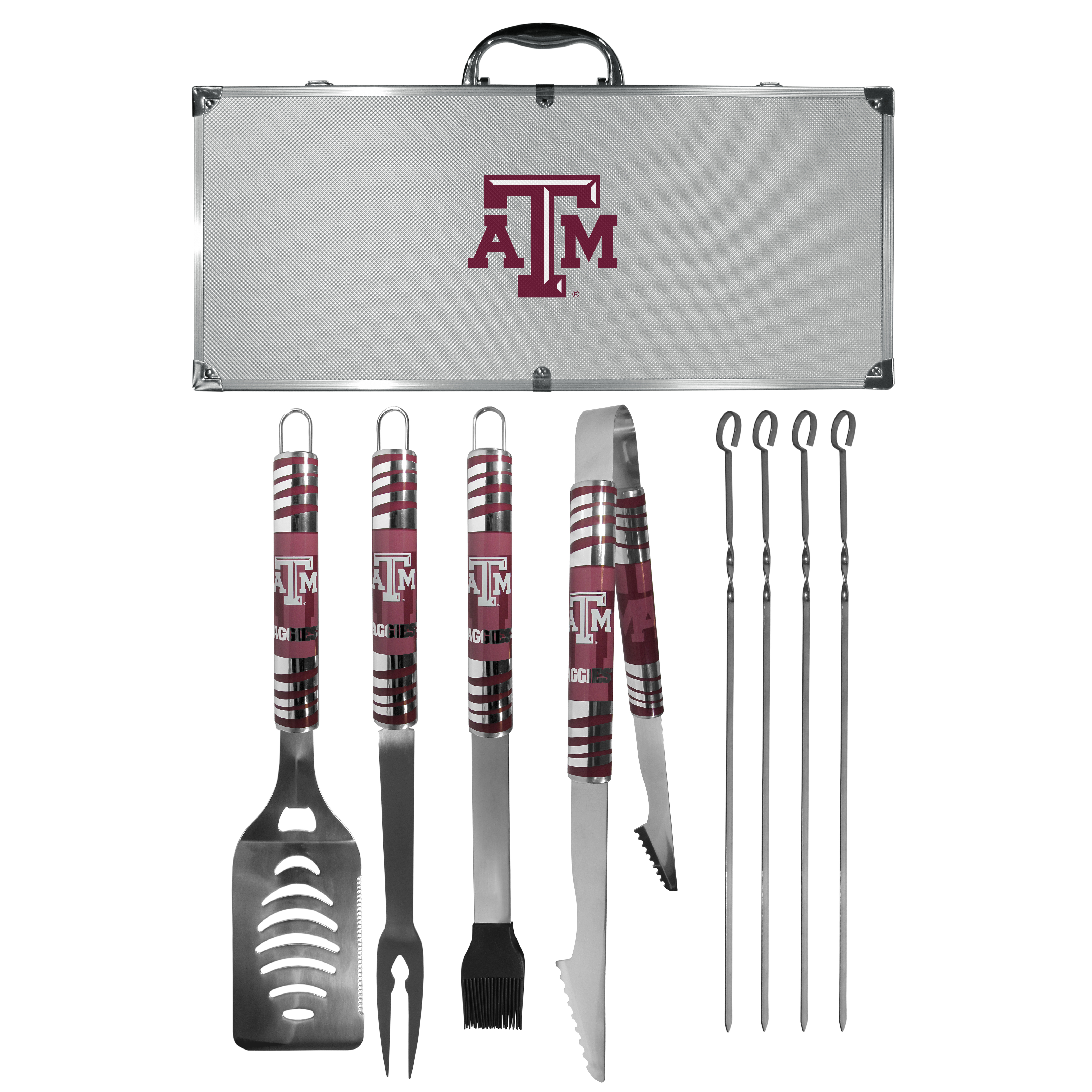 Texas A and M Aggies 8 pc Tailgater BBQ Set - This is the ultimate Texas A & M Aggies tailgate accessory! The high quality, 420 grade stainless steel tools are durable and well-made enough to make even the pickiest grill master smile. This complete grill accessory kit includes; 4 skewers, spatula with bottle opener and serrated knife edge, basting brush, tongs and a fork. The 18 inch metal carrying case is perfect for great outdoor use making grilling an ease while camping, tailgating or while having a game day party on your patio. The tools are 17 inches long and feature vivid team graphics. The metal case features a large team emblem with exceptional detail. This high-end men's gift is sure to be a hit as a present on Father's Day or Christmas.