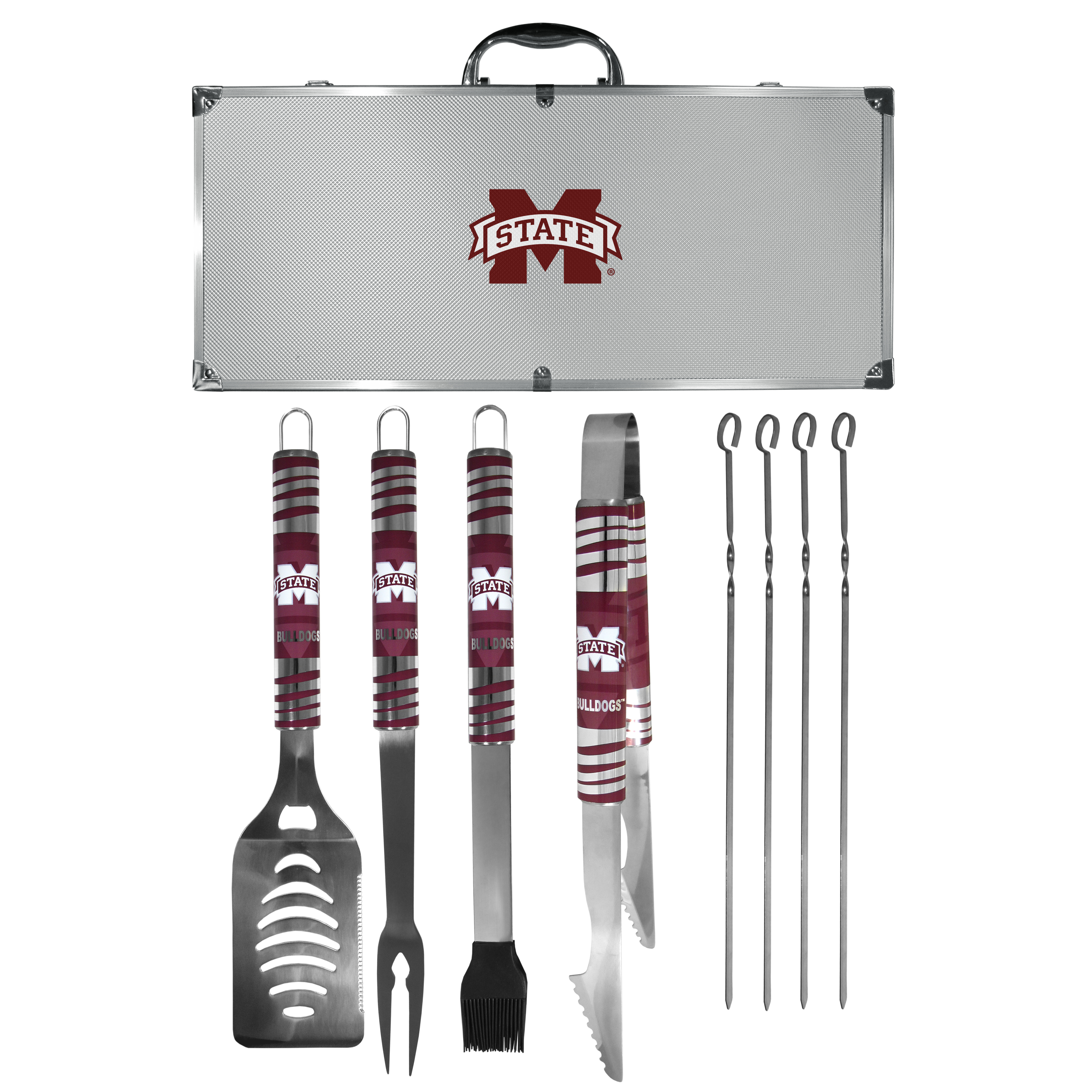 Mississippi St. Bulldogs 8 pc Tailgater BBQ Set - This is the ultimate Mississippi St. Bulldogs tailgate accessory! The high quality, 420 grade stainless steel tools are durable and well-made enough to make even the pickiest grill master smile. This complete grill accessory kit includes; 4 skewers, spatula with bottle opener and serrated knife edge, basting brush, tongs and a fork. The 18 inch metal carrying case is perfect for great outdoor use making grilling an ease while camping, tailgating or while having a game day party on your patio. The tools are 17 inches long and feature vivid team graphics. The metal case features a large team emblem with exceptional detail. This high-end men's gift is sure to be a hit as a present on Father's Day or Christmas.