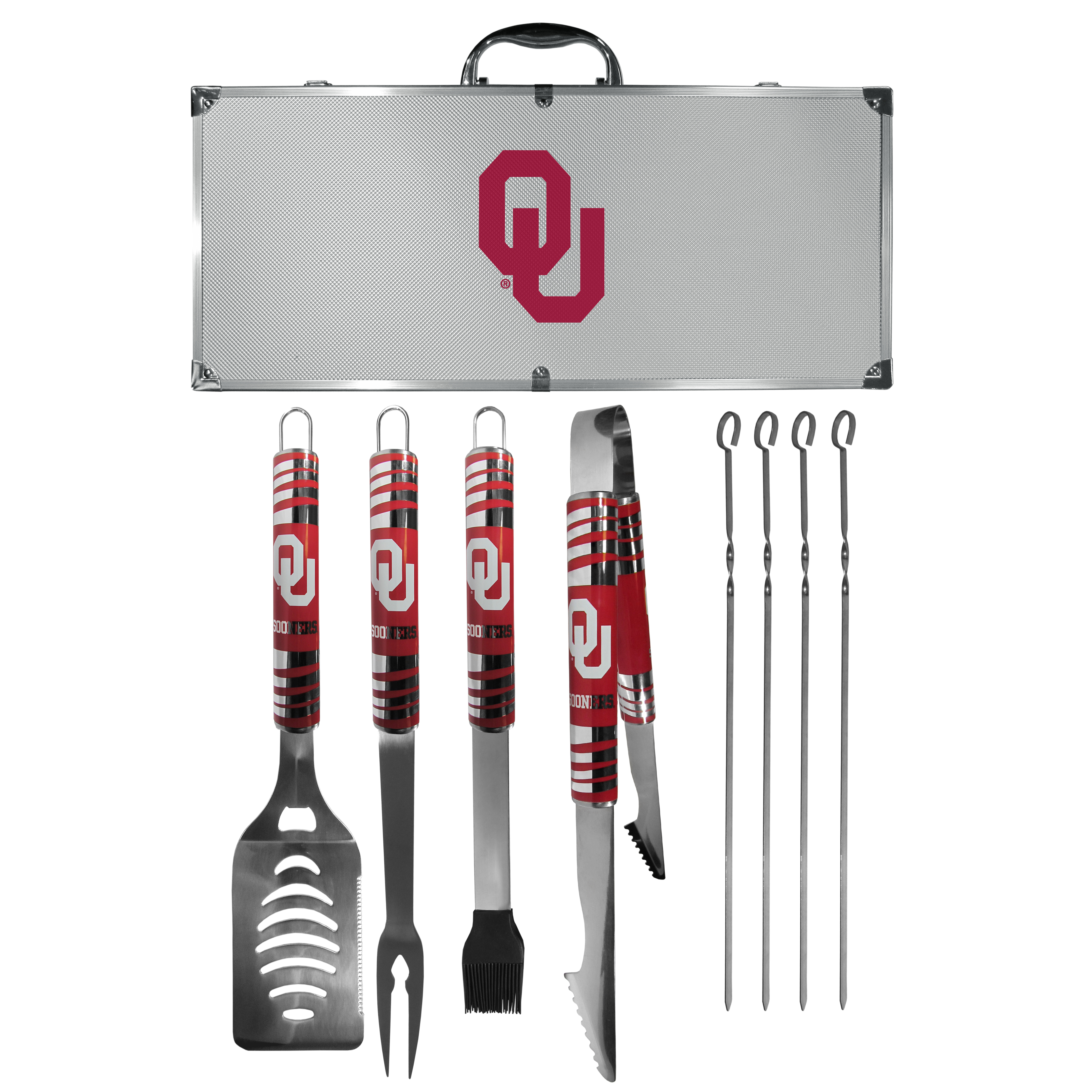 Oklahoma Sooners 8 pc Tailgater BBQ Set - This is the ultimate Oklahoma Sooners tailgate accessory! The high quality, 420 grade stainless steel tools are durable and well-made enough to make even the pickiest grill master smile. This complete grill accessory kit includes; 4 skewers, spatula with bottle opener and serrated knife edge, basting brush, tongs and a fork. The 18 inch metal carrying case is perfect for great outdoor use making grilling an ease while camping, tailgating or while having a game day party on your patio. The tools are 17 inches long and feature vivid team graphics. The metal case features a large team emblem with exceptional detail. This high-end men's gift is sure to be a hit as a present on Father's Day or Christmas.