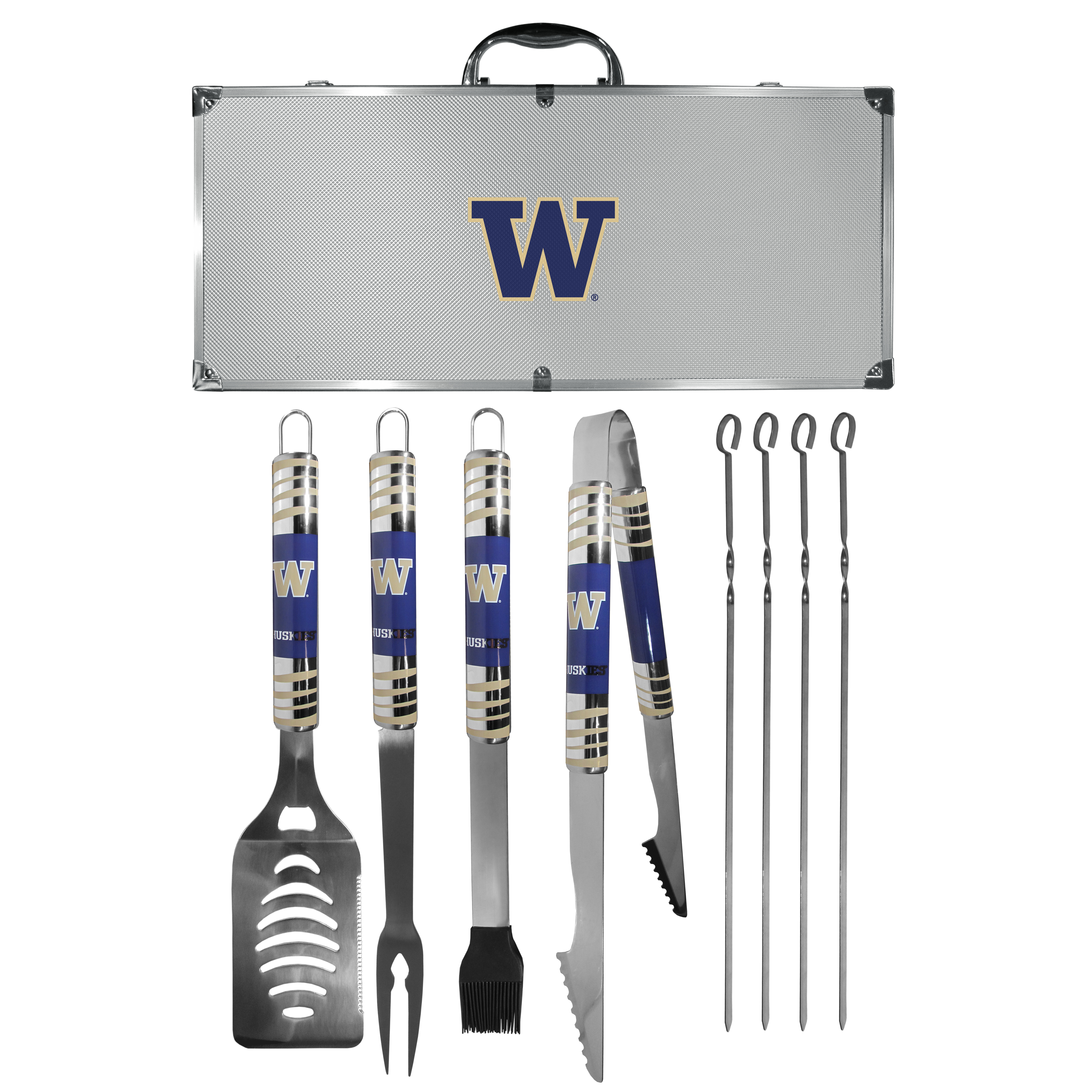 Washington Huskies 8 pc Tailgater BBQ Set - This is the ultimate Washington Huskies tailgate accessory! The high quality, 420 grade stainless steel tools are durable and well-made enough to make even the pickiest grill master smile. This complete grill accessory kit includes; 4 skewers, spatula with bottle opener and serrated knife edge, basting brush, tongs and a fork. The 18 inch metal carrying case is perfect for great outdoor use making grilling an ease while camping, tailgating or while having a game day party on your patio. The tools are 17 inches long and feature vivid team graphics. The metal case features a large team emblem with exceptional detail. This high-end men's gift is sure to be a hit as a present on Father's Day or Christmas.