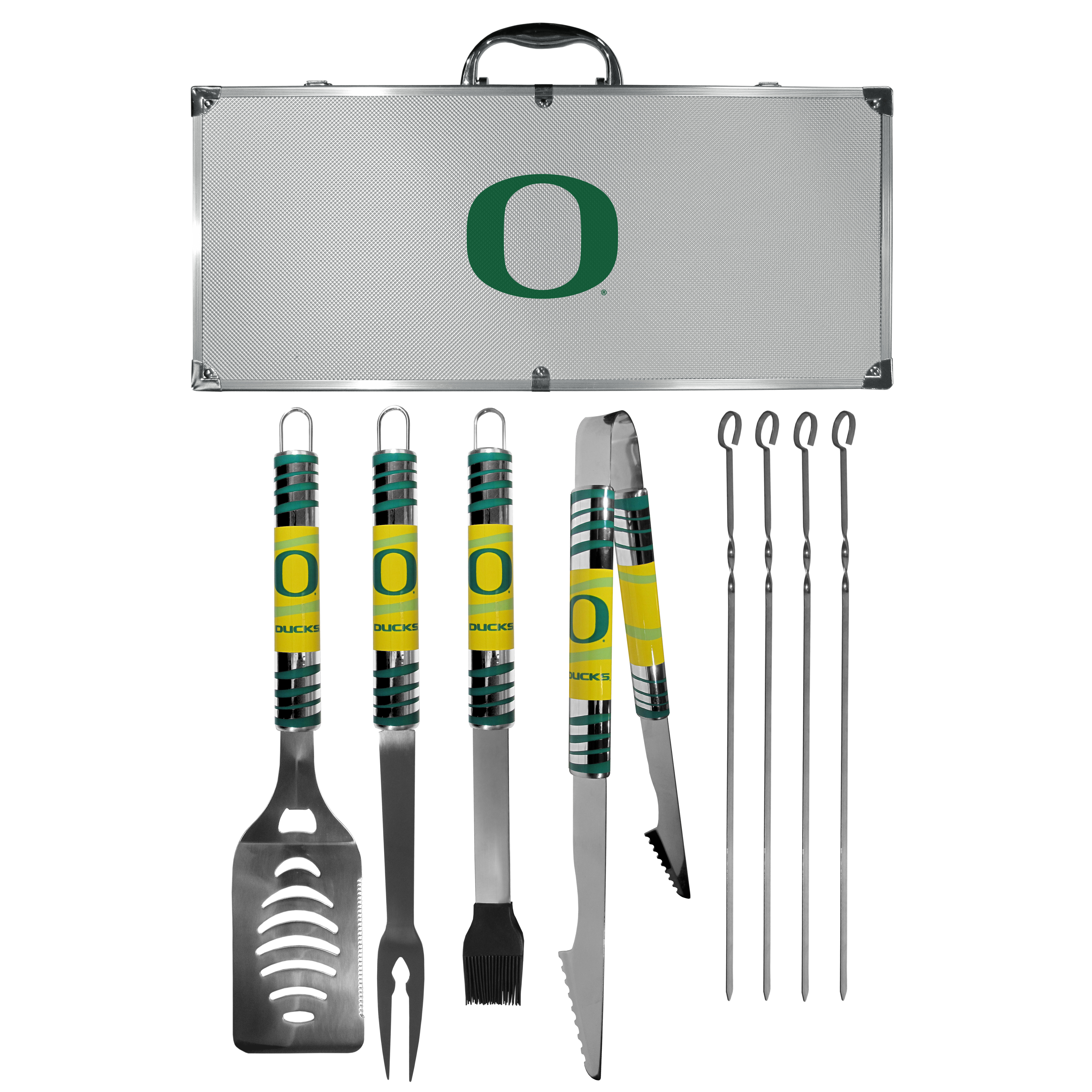 Oregon Ducks 8 pc Tailgater BBQ Set - This is the ultimate Oregon Ducks tailgate accessory! The high quality, 420 grade stainless steel tools are durable and well-made enough to make even the pickiest grill master smile. This complete grill accessory kit includes; 4 skewers, spatula with bottle opener and serrated knife edge, basting brush, tongs and a fork. The 18 inch metal carrying case is perfect for great outdoor use making grilling an ease while camping, tailgating or while having a game day party on your patio. The tools are 17 inches long and feature vivid team graphics. The metal case features a large team emblem with exceptional detail. This high-end men's gift is sure to be a hit as a present on Father's Day or Christmas.