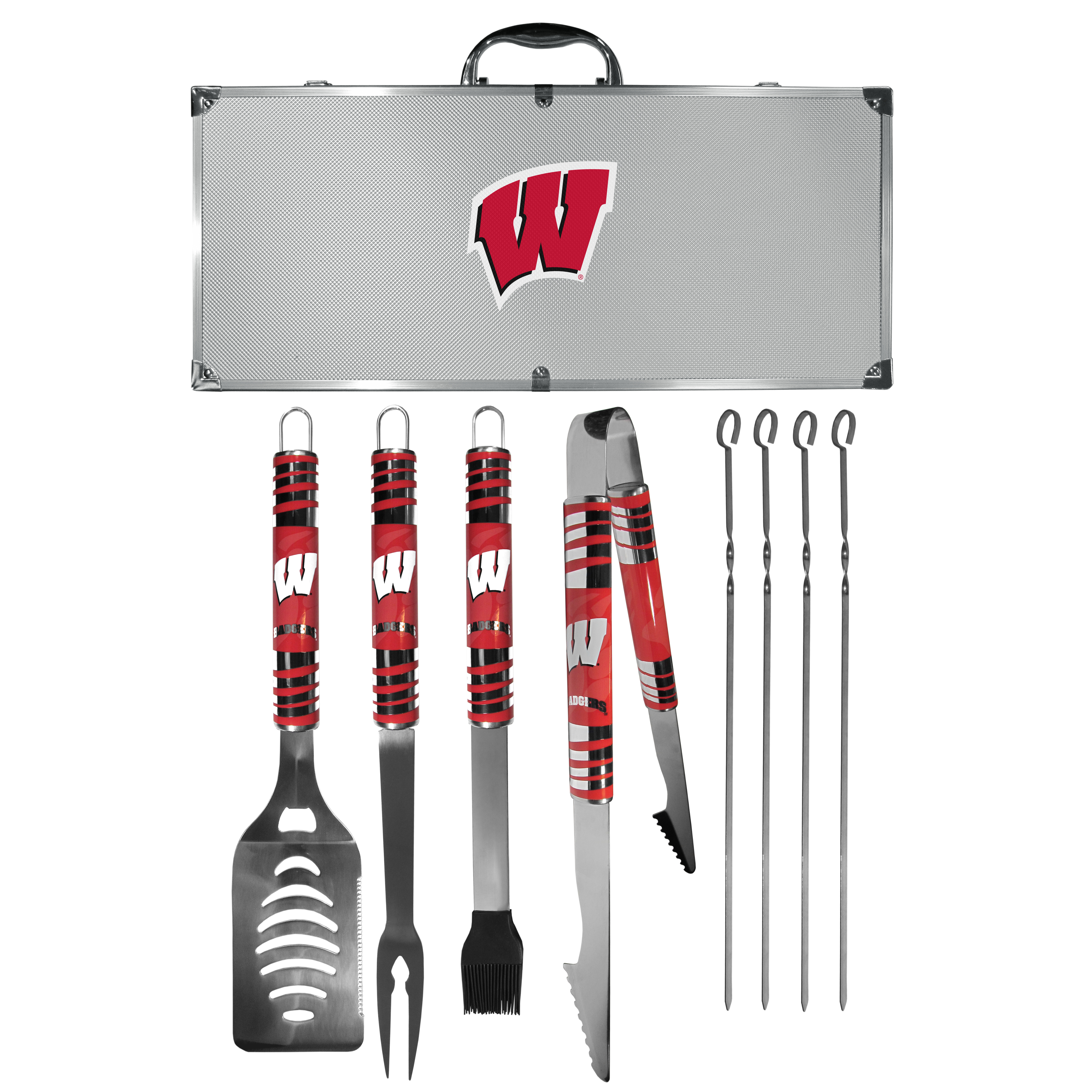 Wisconsin Badgers 8 pc Tailgater BBQ Set - This is the ultimate Wisconsin Badgers tailgate accessory! The high quality, 420 grade stainless steel tools are durable and well-made enough to make even the pickiest grill master smile. This complete grill accessory kit includes; 4 skewers, spatula with bottle opener and serrated knife edge, basting brush, tongs and a fork. The 18 inch metal carrying case is perfect for great outdoor use making grilling an ease while camping, tailgating or while having a game day party on your patio. The tools are 17 inches long and feature vivid team graphics. The metal case features a large team emblem with exceptional detail. This high-end men's gift is sure to be a hit as a present on Father's Day or Christmas.