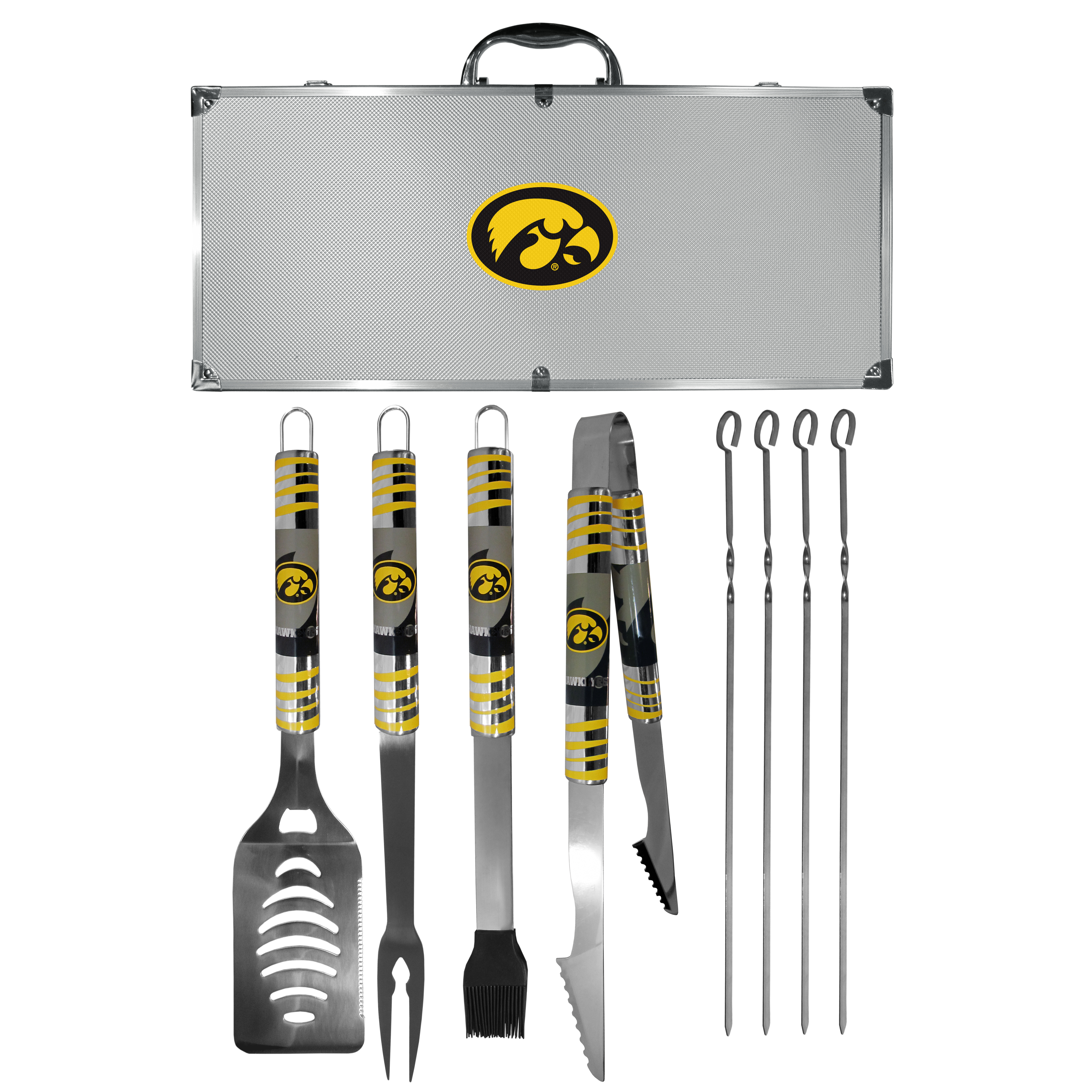 Iowa Hawkeyes 8 pc Tailgater BBQ Set - This is the ultimate Iowa Hawkeyes tailgate accessory! The high quality, 420 grade stainless steel tools are durable and well-made enough to make even the pickiest grill master smile. This complete grill accessory kit includes; 4 skewers, spatula with bottle opener and serrated knife edge, basting brush, tongs and a fork. The 18 inch metal carrying case is perfect for great outdoor use making grilling an ease while camping, tailgating or while having a game day party on your patio. The tools are 17 inches long and feature vivid team graphics. The metal case features a large team emblem with exceptional detail. This high-end men's gift is sure to be a hit as a present on Father's Day or Christmas.