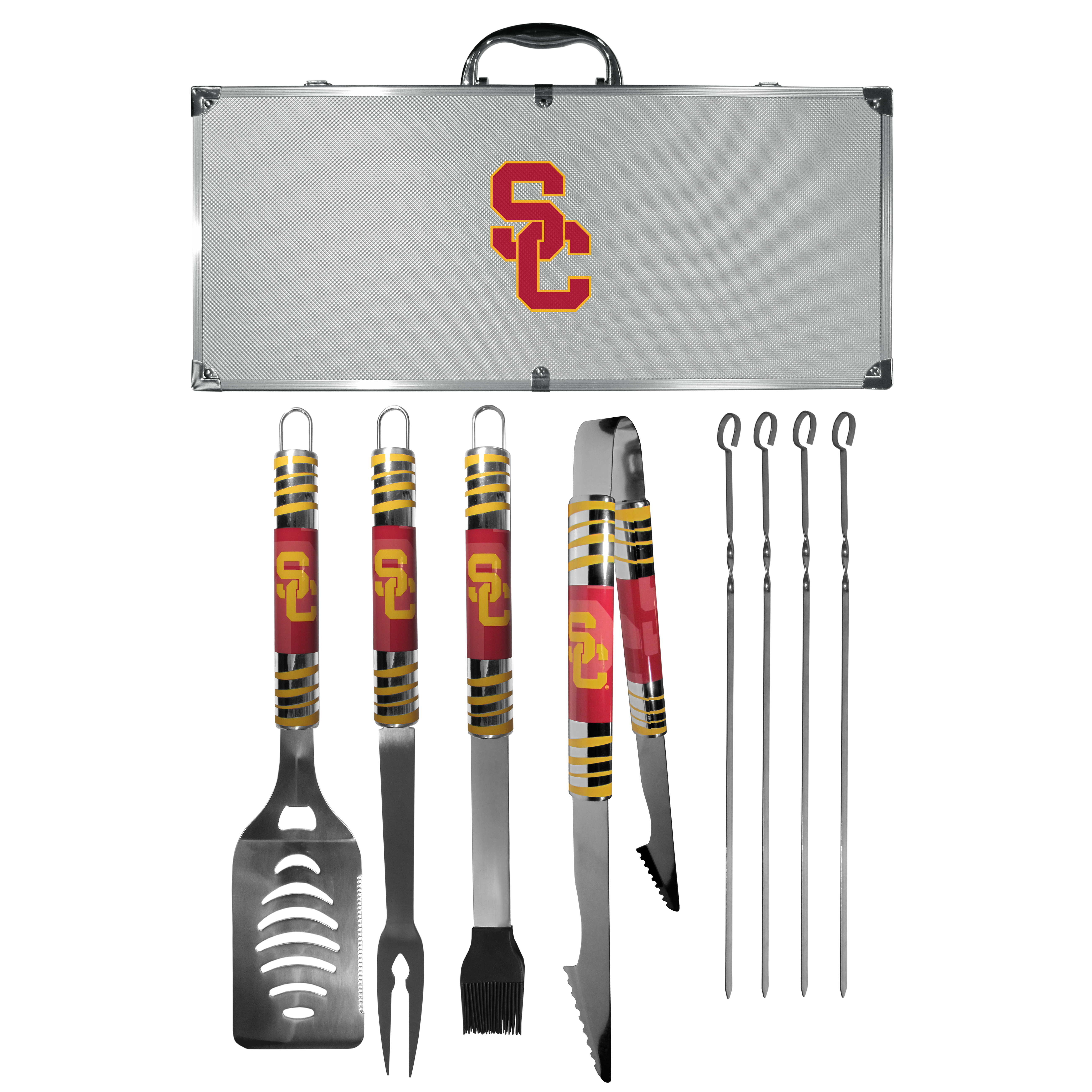 USC Trojans 8 pc Tailgater BBQ Set - This is the ultimate USC Trojans tailgate accessory! The high quality, 420 grade stainless steel tools are durable and well-made enough to make even the pickiest grill master smile. This complete grill accessory kit includes; 4 skewers, spatula with bottle opener and serrated knife edge, basting brush, tongs and a fork. The 18 inch metal carrying case is perfect for great outdoor use making grilling an ease while camping, tailgating or while having a game day party on your patio. The tools are 17 inches long and feature vivid team graphics. The metal case features a large team emblem with exceptional detail. This high-end men's gift is sure to be a hit as a present on Father's Day or Christmas.