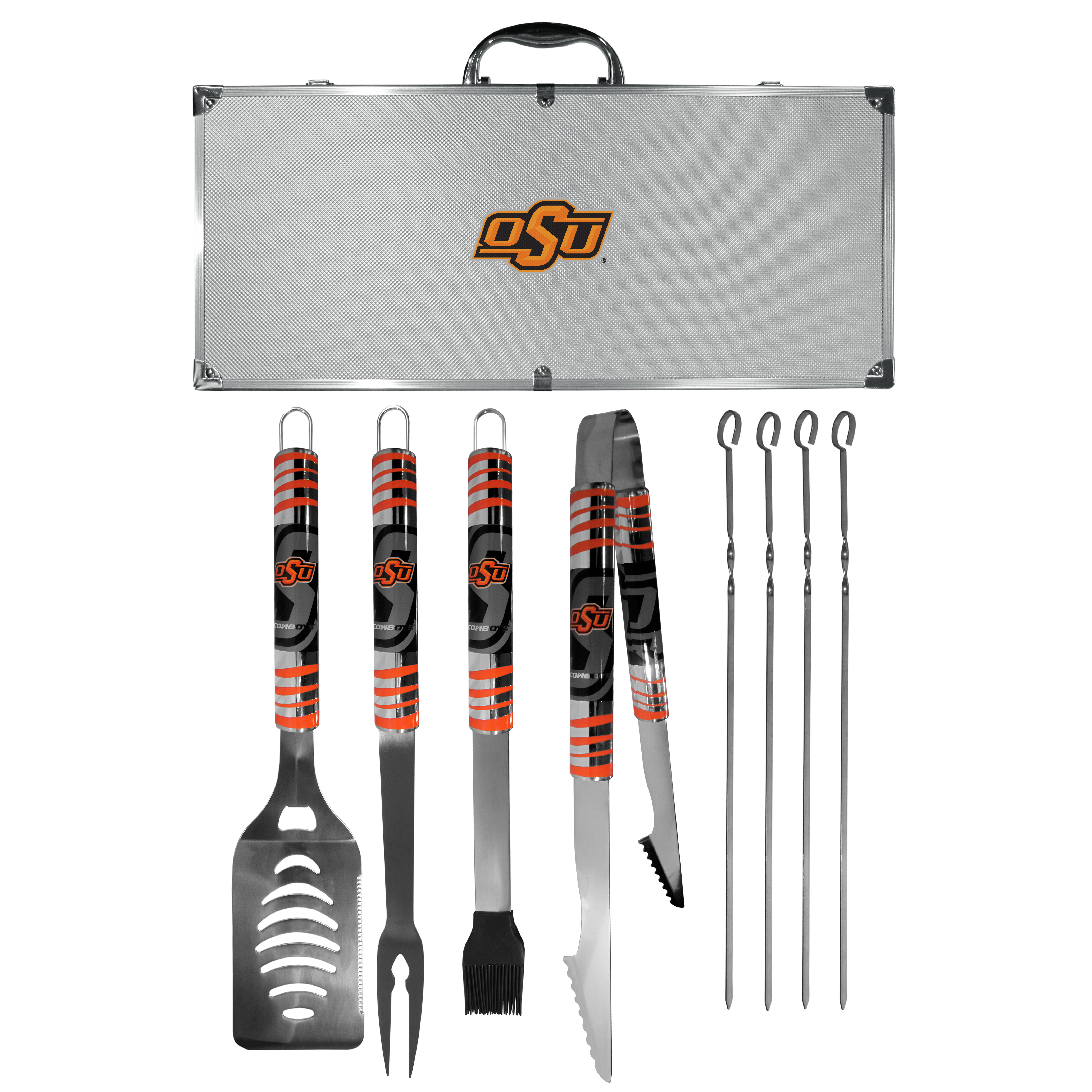 Oklahoma St. Cowboys 8 pc Tailgater BBQ Set - This is the ultimate Oklahoma St. Cowboys tailgate accessory! The high quality, 420 grade stainless steel tools are durable and well-made enough to make even the pickiest grill master smile. This complete grill accessory kit includes; 4 skewers, spatula with bottle opener and serrated knife edge, basting brush, tongs and a fork. The 18 inch metal carrying case is perfect for great outdoor use making grilling an ease while camping, tailgating or while having a game day party on your patio. The tools are 17 inches long and feature vivid team graphics. The metal case features a large team emblem with exceptional detail. This high-end men's gift is sure to be a hit as a present on Father's Day or Christmas.