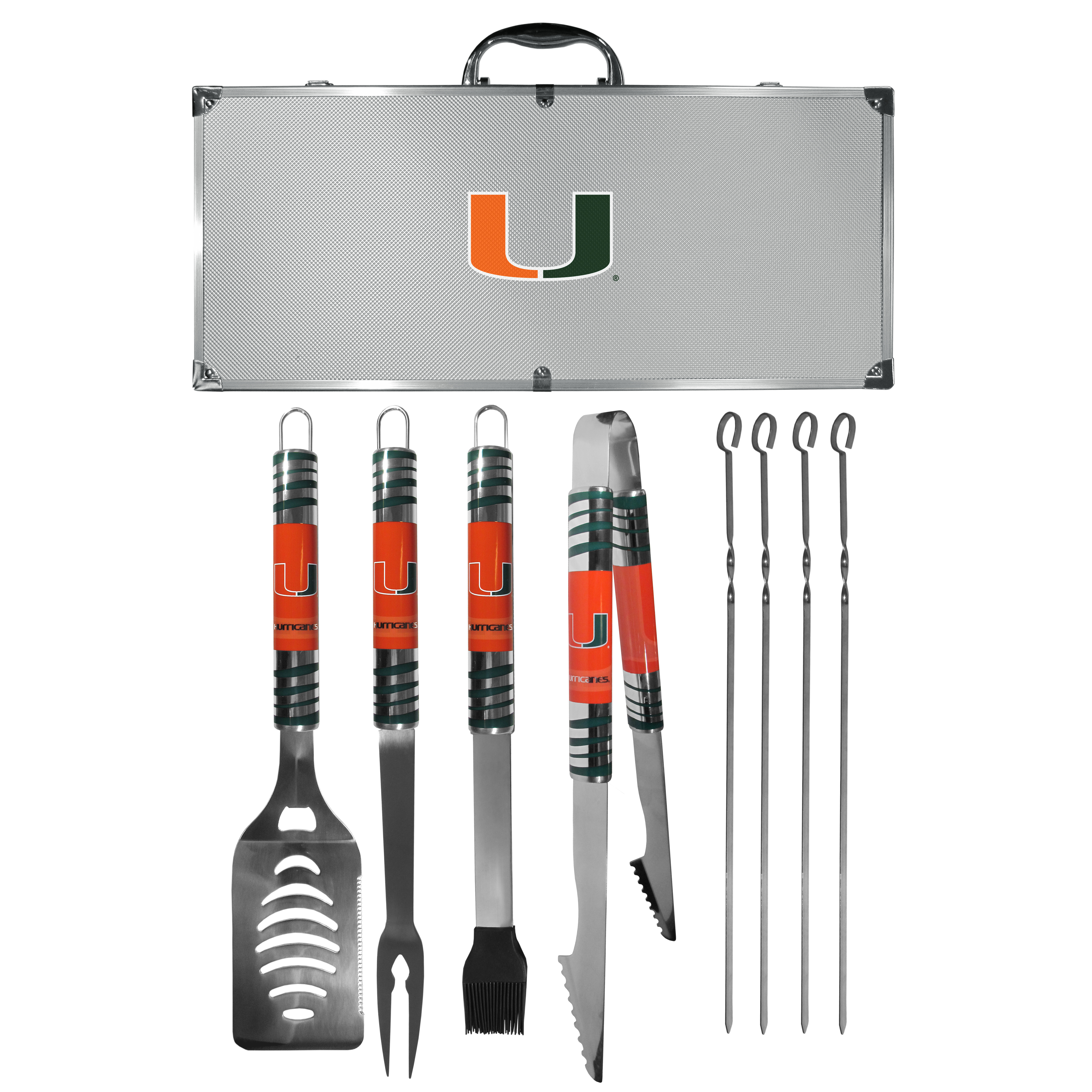 Miami Hurricanes 8 pc Tailgater BBQ Set - This is the ultimate Miami Hurricanes tailgate accessory! The high quality, 420 grade stainless steel tools are durable and well-made enough to make even the pickiest grill master smile. This complete grill accessory kit includes; 4 skewers, spatula with bottle opener and serrated knife edge, basting brush, tongs and a fork. The 18 inch metal carrying case is perfect for great outdoor use making grilling an ease while camping, tailgating or while having a game day party on your patio. The tools are 17 inches long and feature vivid team graphics. The metal case features a large team emblem with exceptional detail. This high-end men's gift is sure to be a hit as a present on Father's Day or Christmas.
