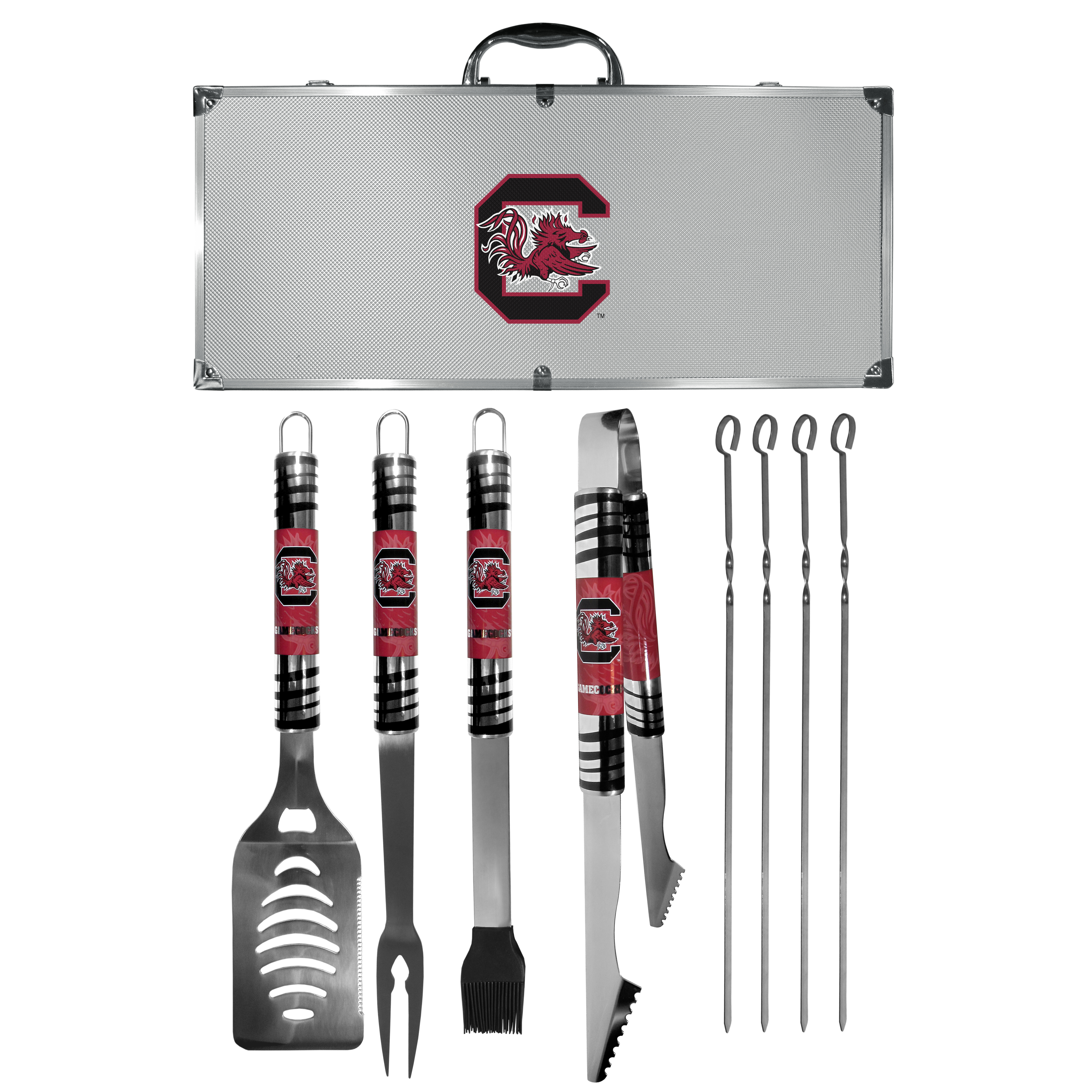 S. Carolina Gamecocks 8 pc Tailgater BBQ Set - This is the ultimate S. Carolina Gamecocks tailgate accessory! The high quality, 420 grade stainless steel tools are durable and well-made enough to make even the pickiest grill master smile. This complete grill accessory kit includes; 4 skewers, spatula with bottle opener and serrated knife edge, basting brush, tongs and a fork. The 18 inch metal carrying case is perfect for great outdoor use making grilling an ease while camping, tailgating or while having a game day party on your patio. The tools are 17 inches long and feature vivid team graphics. The metal case features a large team emblem with exceptional detail. This high-end men's gift is sure to be a hit as a present on Father's Day or Christmas.