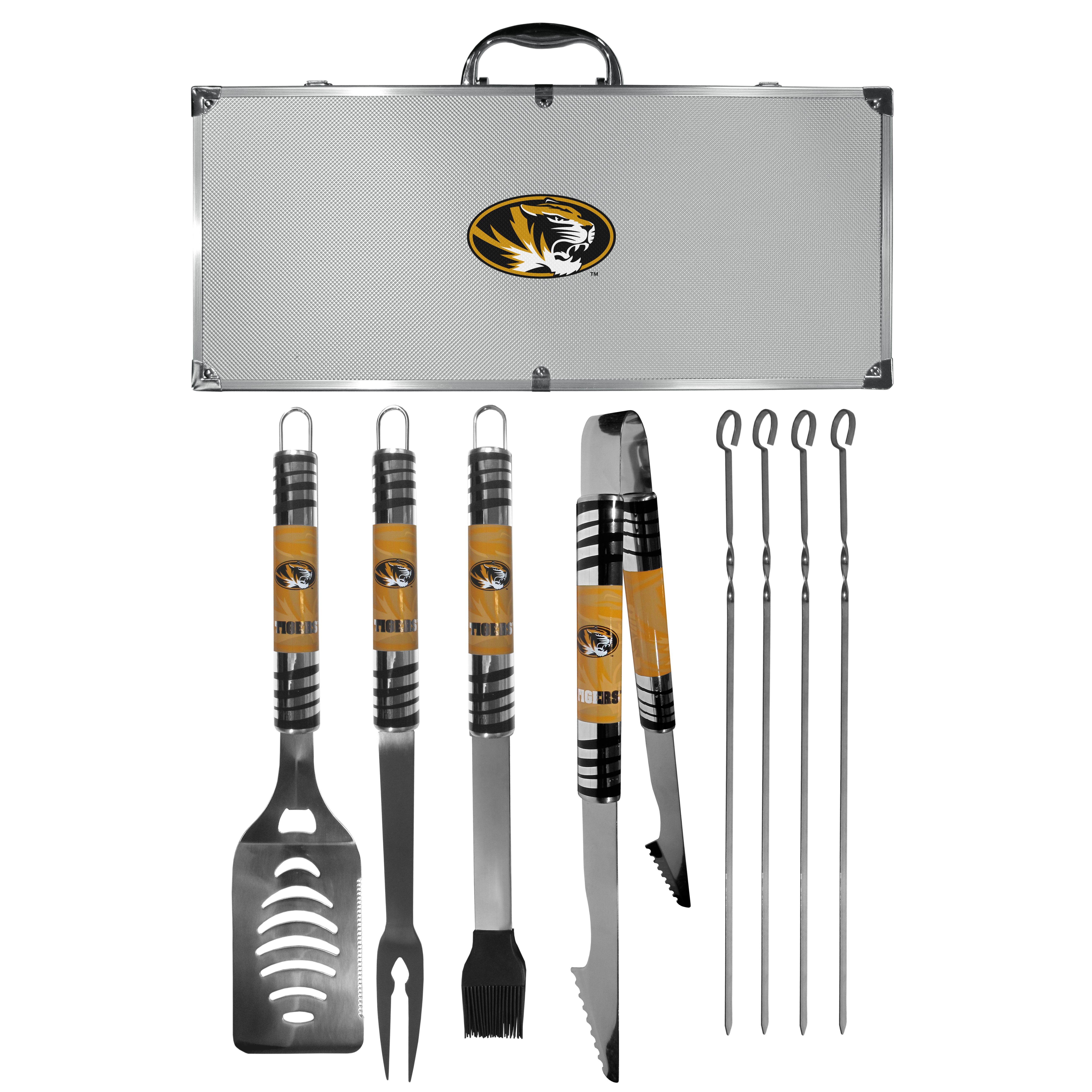 Missouri Tigers 8 pc Tailgater BBQ Set - This is the ultimate Missouri Tigers tailgate accessory! The high quality, 420 grade stainless steel tools are durable and well-made enough to make even the pickiest grill master smile. This complete grill accessory kit includes; 4 skewers, spatula with bottle opener and serrated knife edge, basting brush, tongs and a fork. The 18 inch metal carrying case is perfect for great outdoor use making grilling an ease while camping, tailgating or while having a game day party on your patio. The tools are 17 inches long and feature vivid team graphics. The metal case features a large team emblem with exceptional detail. This high-end men's gift is sure to be a hit as a present on Father's Day or Christmas.