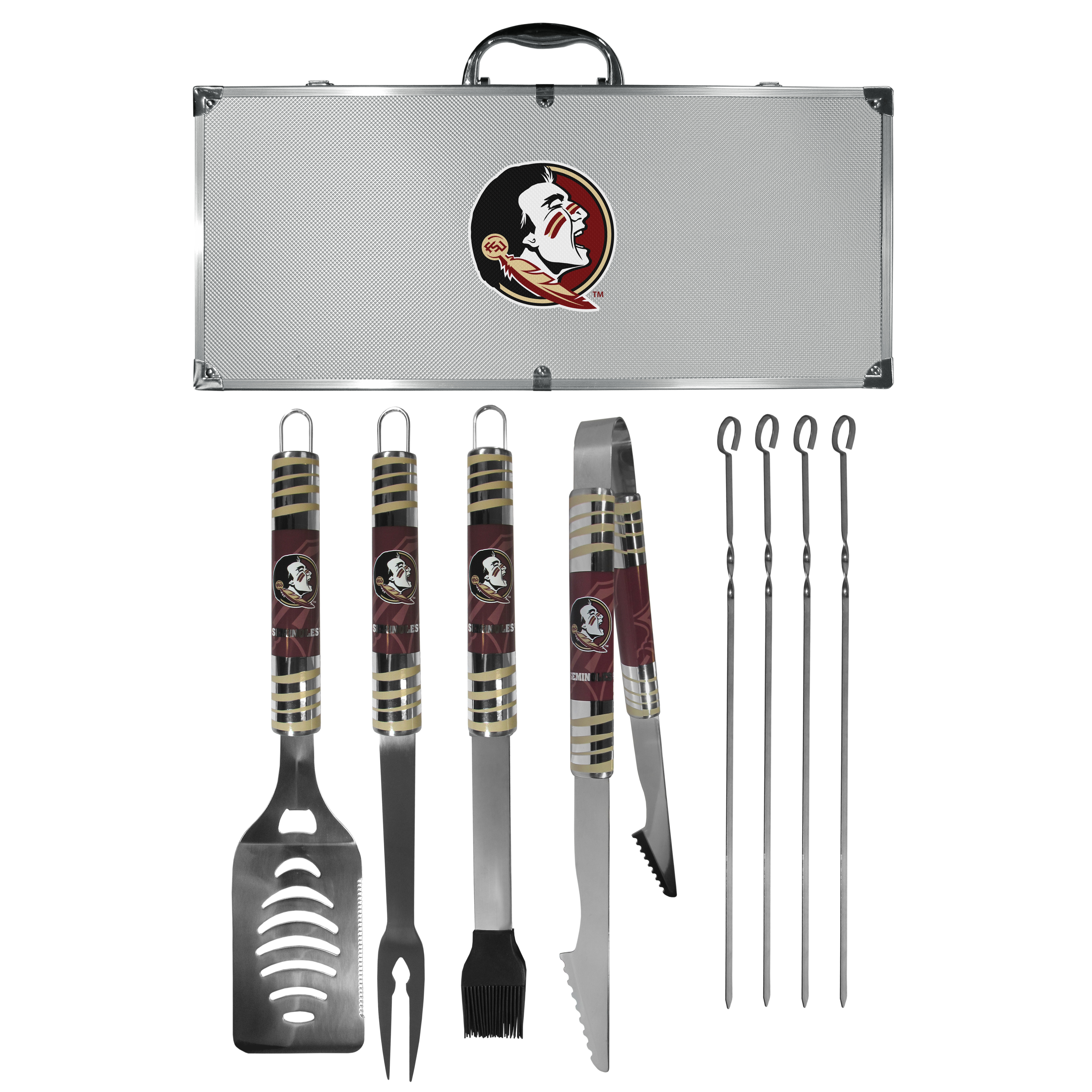 Florida St. Seminoles 8 pc Tailgater BBQ Set - This is the ultimate Florida St. Seminoles tailgate accessory! The high quality, 420 grade stainless steel tools are durable and well-made enough to make even the pickiest grill master smile. This complete grill accessory kit includes; 4 skewers, spatula with bottle opener and serrated knife edge, basting brush, tongs and a fork. The 18 inch metal carrying case is perfect for great outdoor use making grilling an ease while camping, tailgating or while having a game day party on your patio. The tools are 17 inches long and feature vivid team graphics. The metal case features a large team emblem with exceptional detail. This high-end men's gift is sure to be a hit as a present on Father's Day or Christmas.