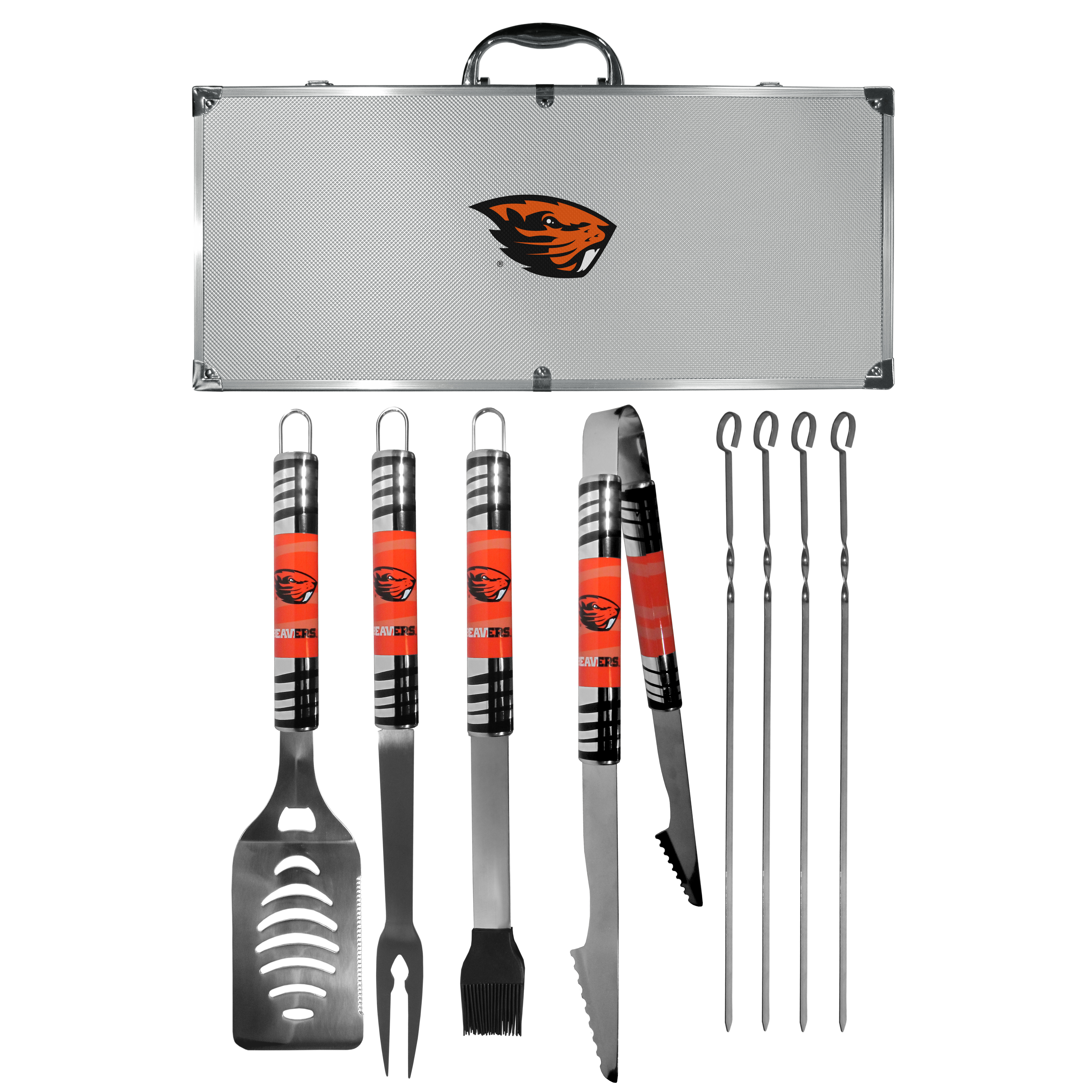 Oregon St. Beavers 8 pc Tailgater BBQ Set - This is the ultimate Oregon St. Beavers tailgate accessory! The high quality, 420 grade stainless steel tools are durable and well-made enough to make even the pickiest grill master smile. This complete grill accessory kit includes; 4 skewers, spatula with bottle opener and serrated knife edge, basting brush, tongs and a fork. The 18 inch metal carrying case is perfect for great outdoor use making grilling an ease while camping, tailgating or while having a game day party on your patio. The tools are 17 inches long and feature vivid team graphics. The metal case features a large team emblem with exceptional detail. This high-end men's gift is sure to be a hit as a present on Father's Day or Christmas.